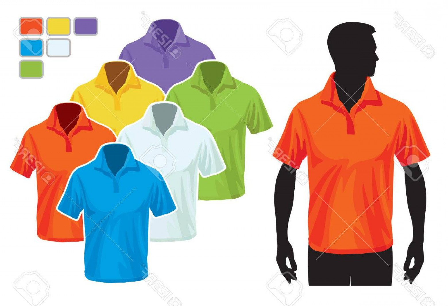 Vector Pocket Silhouette Shirt: Photoman Body Silhouette With Colorful Collection Of Polo Shirts