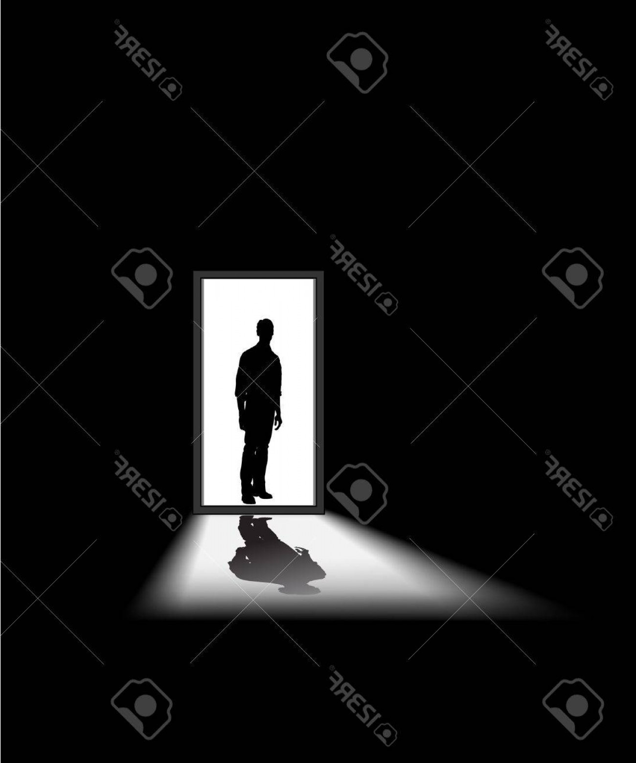 Vectorman Darkness: Photoman Enters A Dark Room To Illustrate Concept Of Unknown And Fear