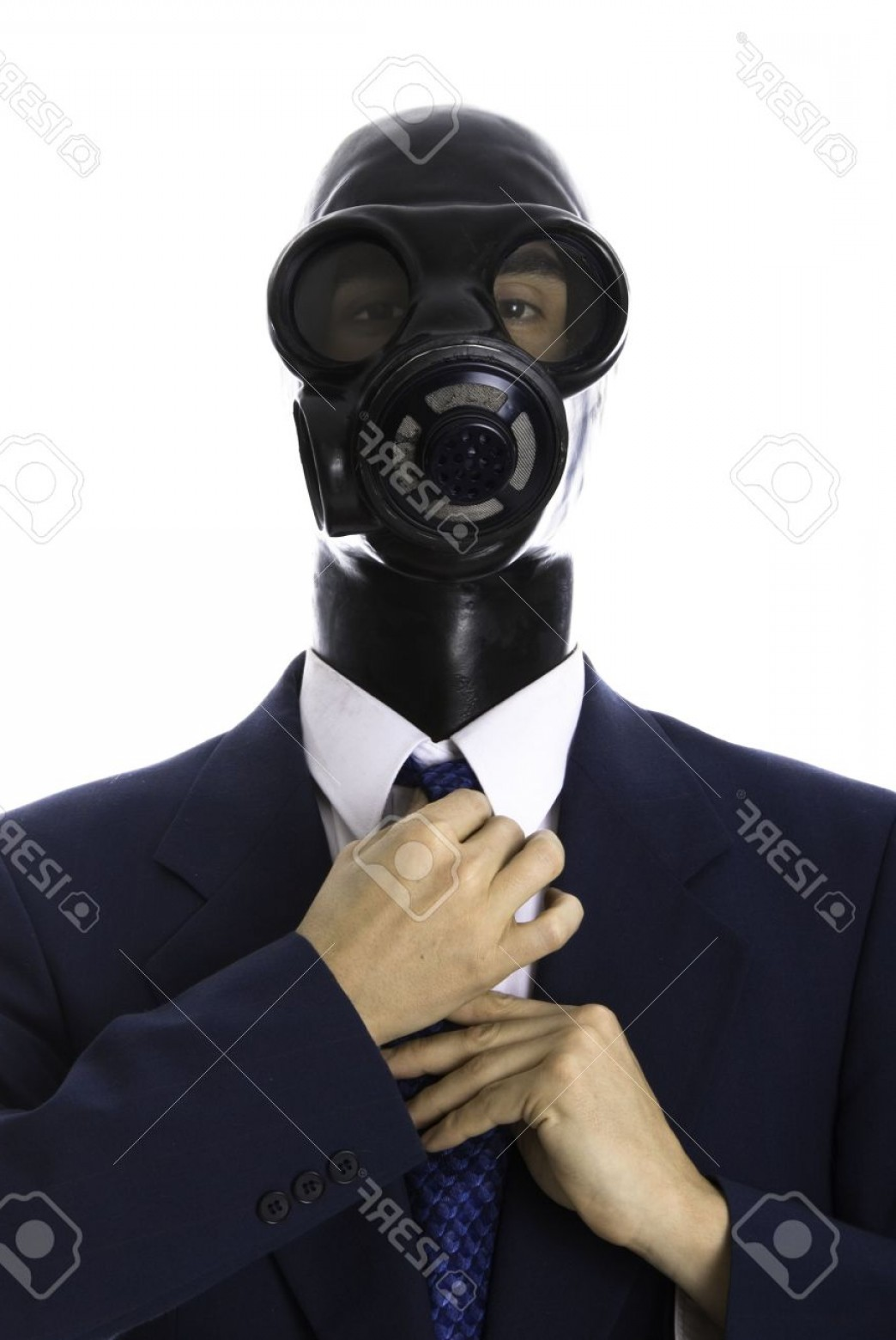 Gas Mask Suit And Tie Vector: Photoman In A Blue Suit With A Latex Mask Fixing His Tie