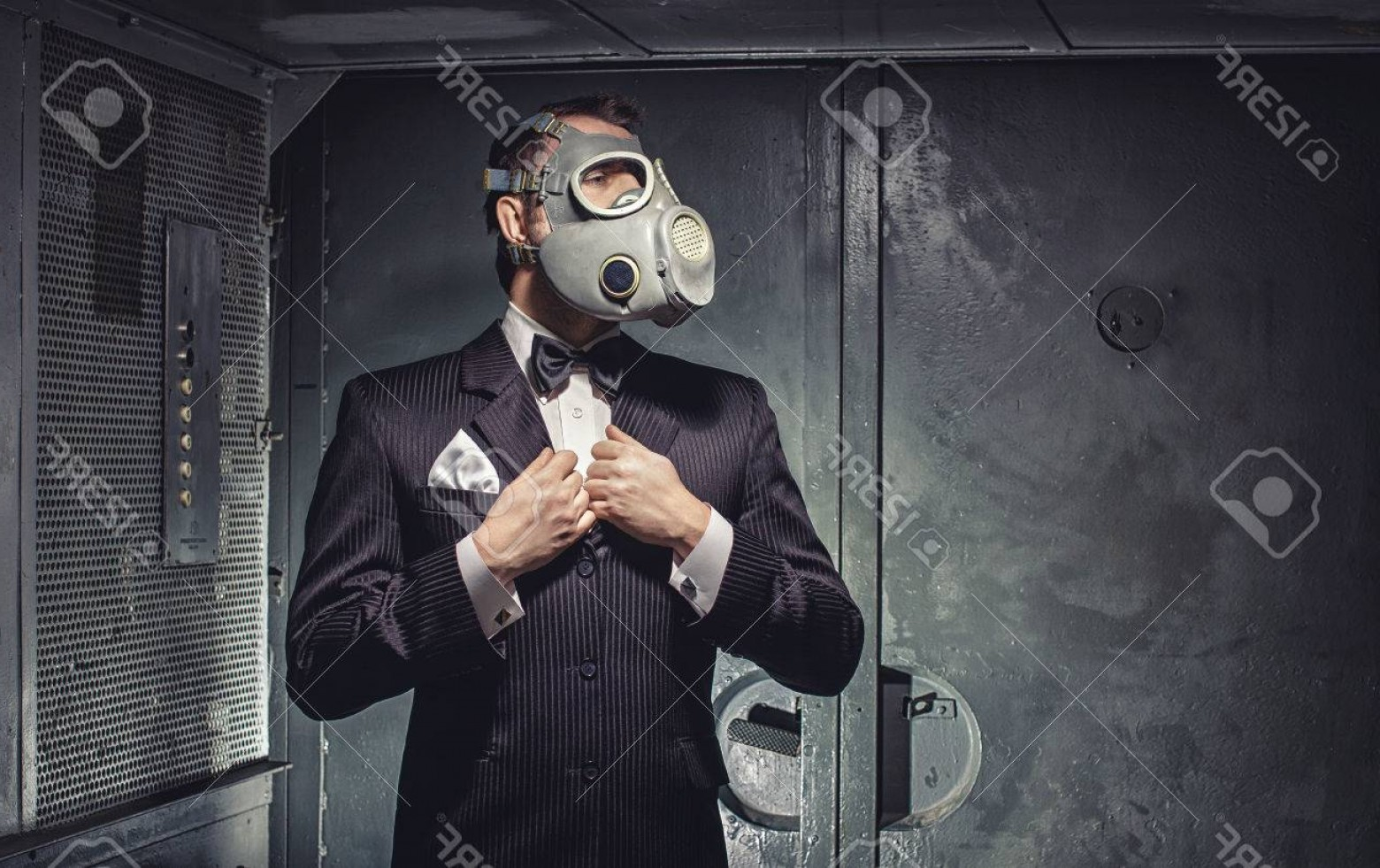 Gas Mask Suit And Tie Vector: Photoman In Gas Mask And Suit Standing In Old Elevator Secret Agent Terrorist Or Businessman Of Apocalyps
