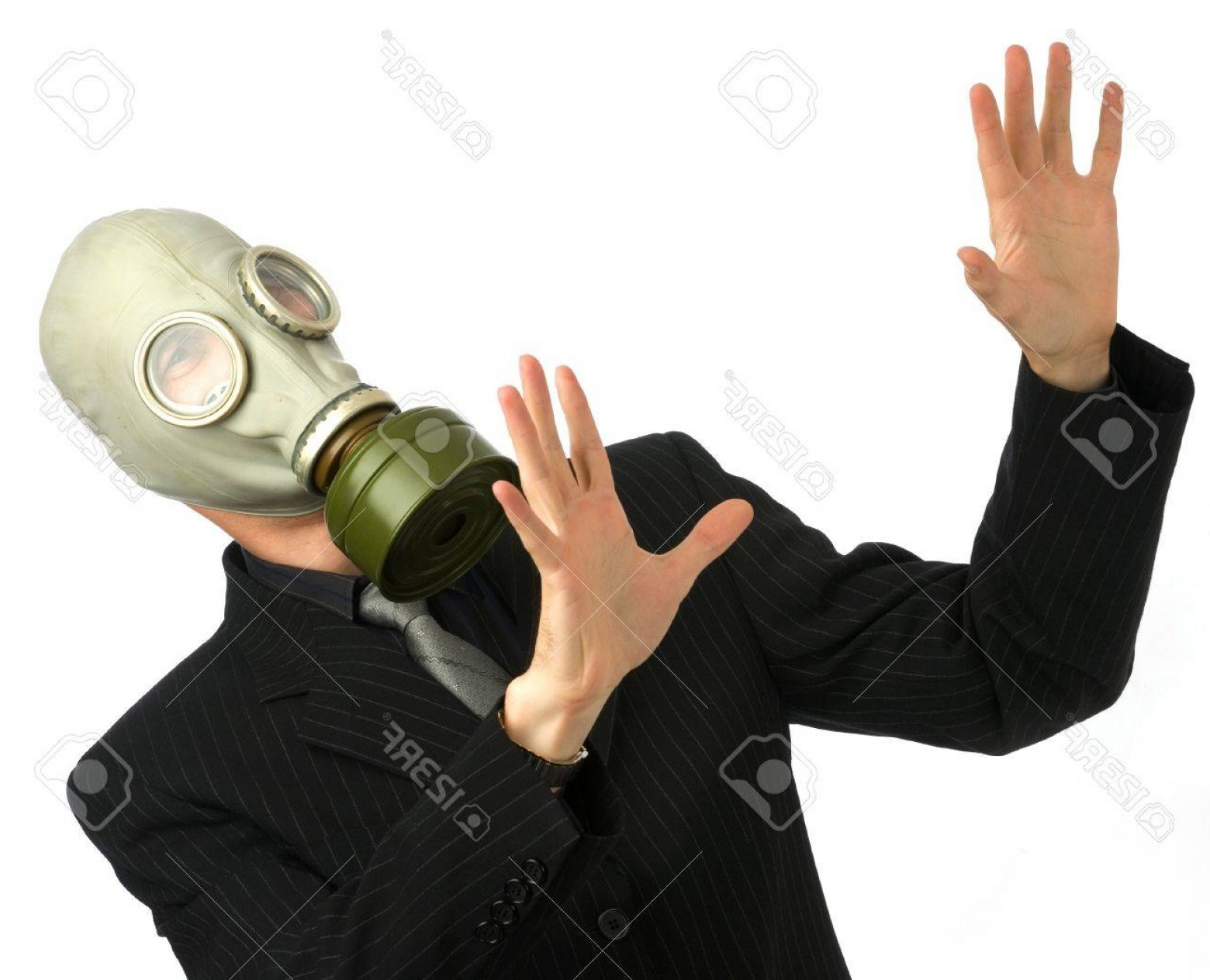Gas Mask Suit And Tie Vector: Photoman In Suit And Tie With Gas Mask