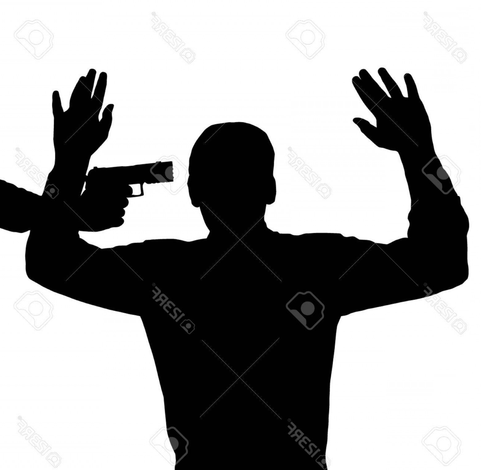 Finger Gun To Head Vector: Photoman Surrendering With Gun Against His Head