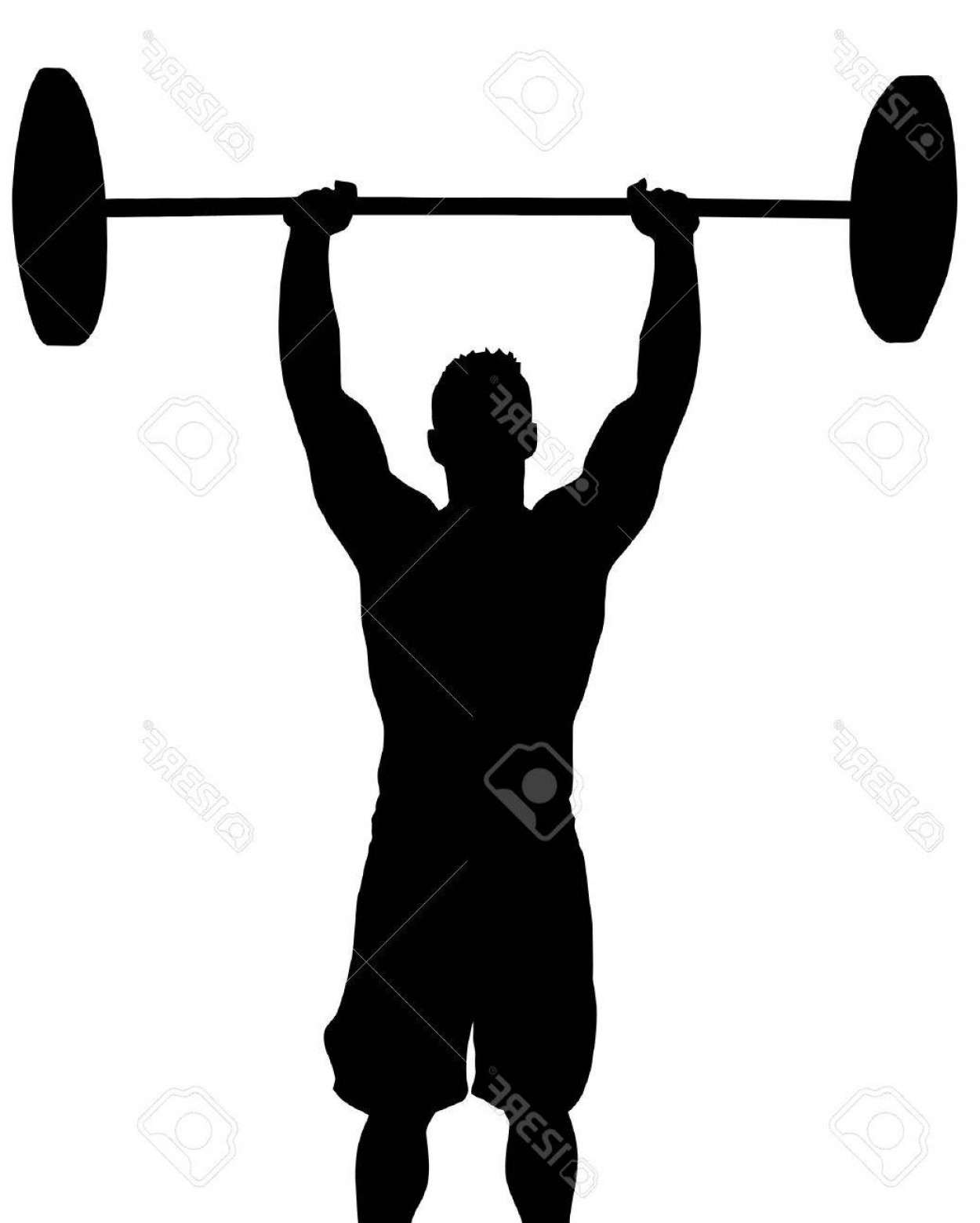 Vector Barbell Press: Photoman Weight Lifter With Weight Above Head Silhouette