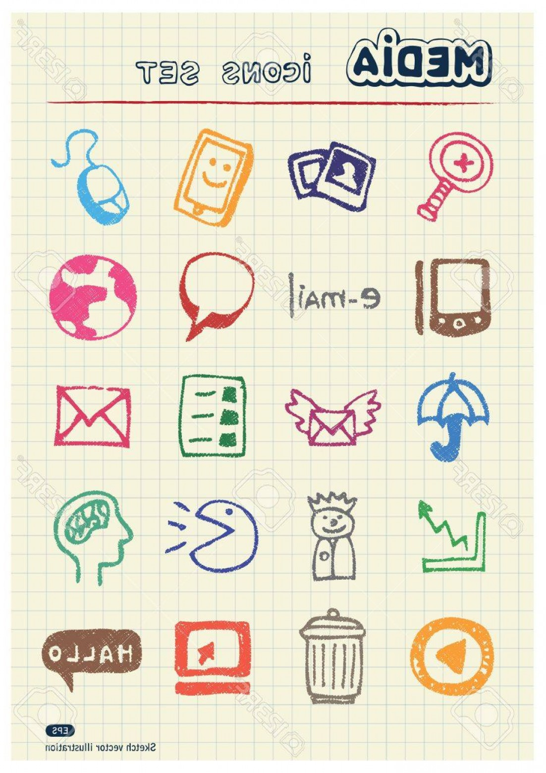 Pencil Icon Vectors Social Media: Photomedia And Social Network Web Icons Set Drawn By Color Pencils Hand Drawn Elements Pack Isolated On P