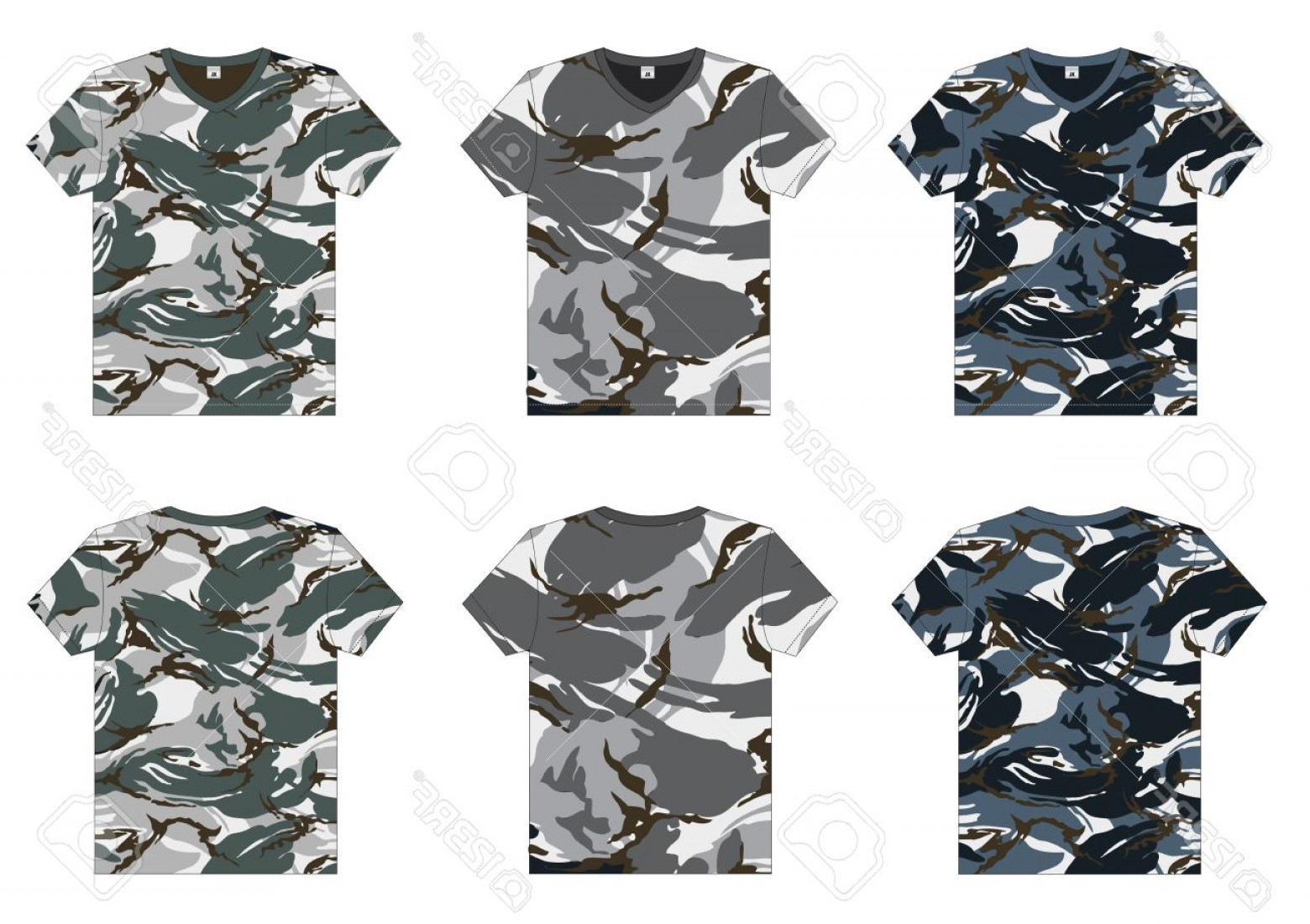 Military T-Shirt Designs Vectors: Photomen S Military T Shirts V Neck Front And Back View Vector Template