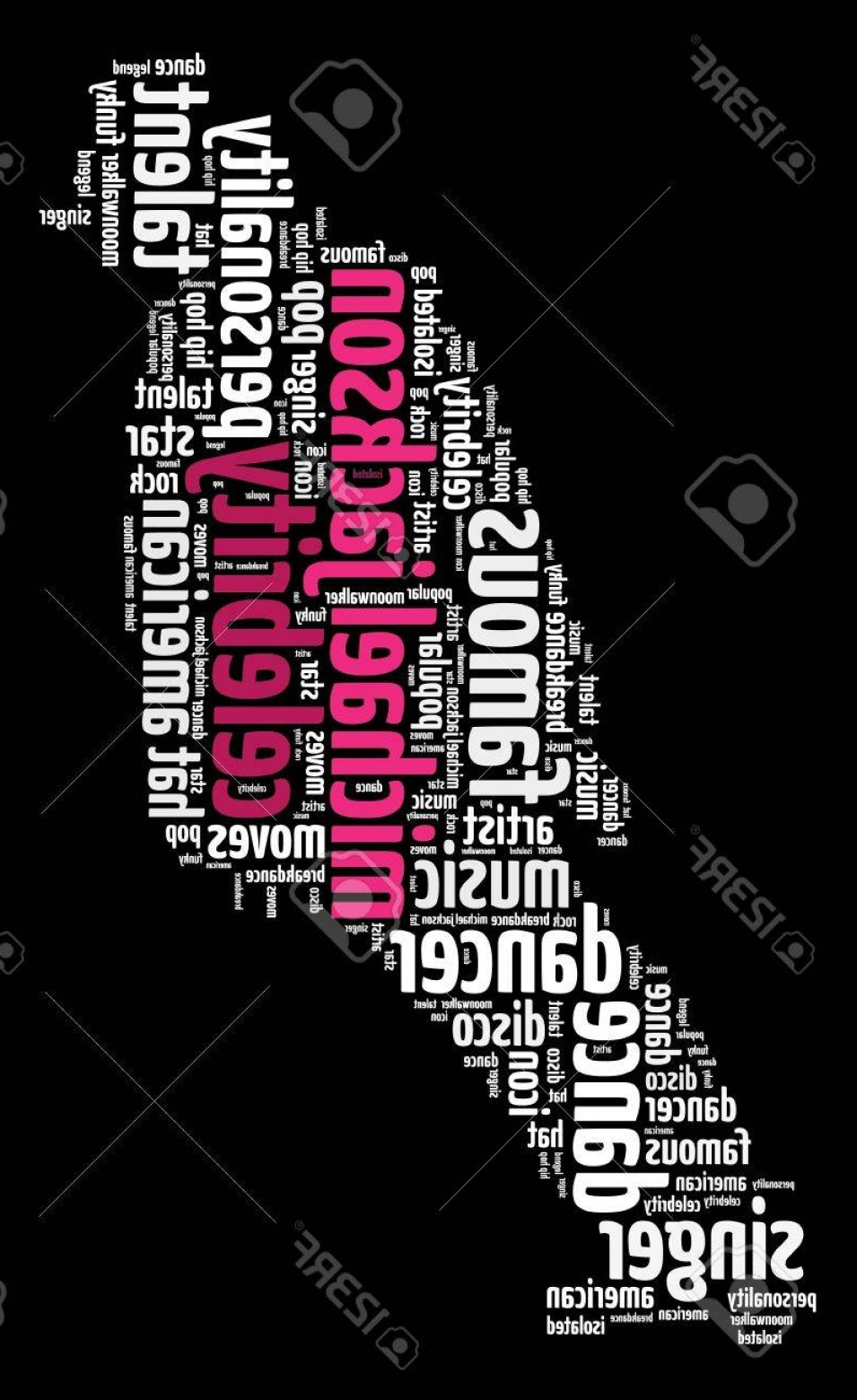 Bad Michael Jackson Vector: Photomichael Jackson Info Text Graphics And Arrangement Word Clouds Concept