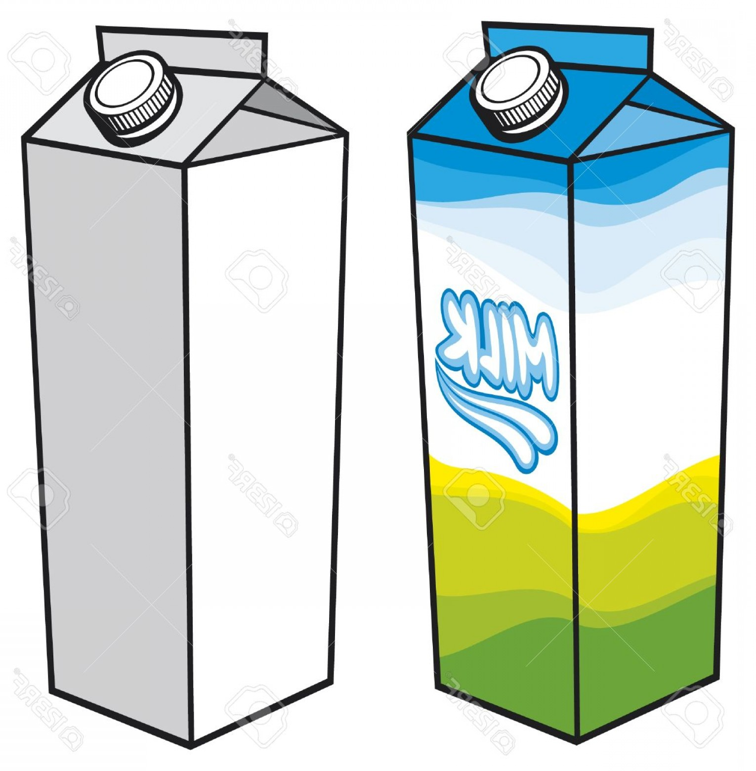 Vector Milk Container: Photomilk Carton Milk Carton With Screw Cap Carton Box Milk Box Milk Carton Packages Milk Pack