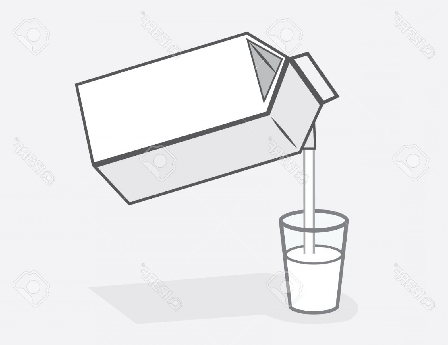 Vector Milk Container: Photomilk Carton Pouring Into Glass Of Milk