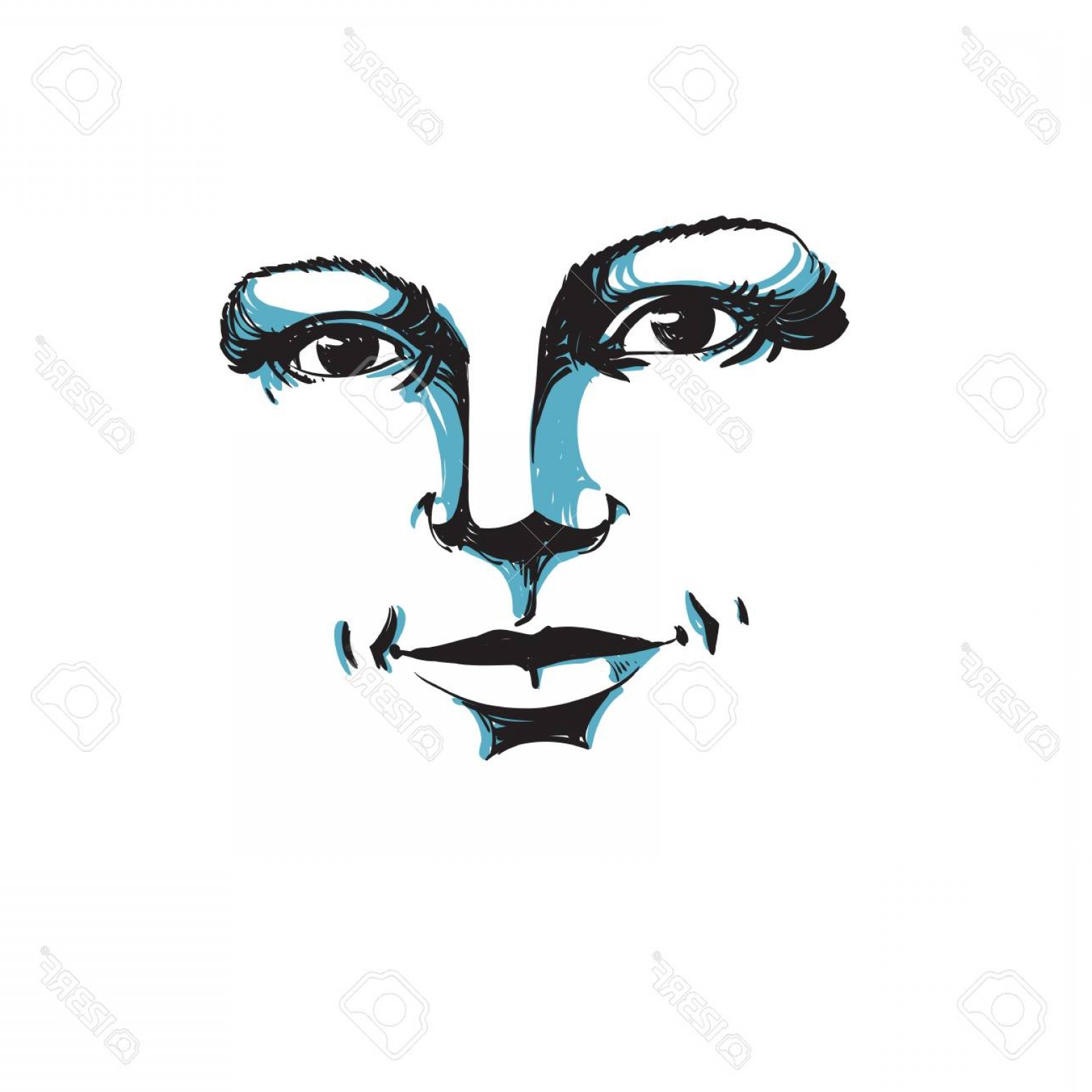 Woman Silhouette Vector Face Expression: Photomonochrome Hand Drawn Silhouette Of Romantic Woman Face Delicate Features Face Expression On Lady Fa