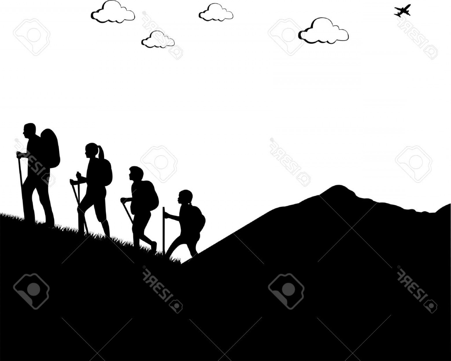 White Mountain Silhouette Vector Free: Photomountain Climbing Hiking Family With Rucksacks Silhouette One In The Series Of Similar Images