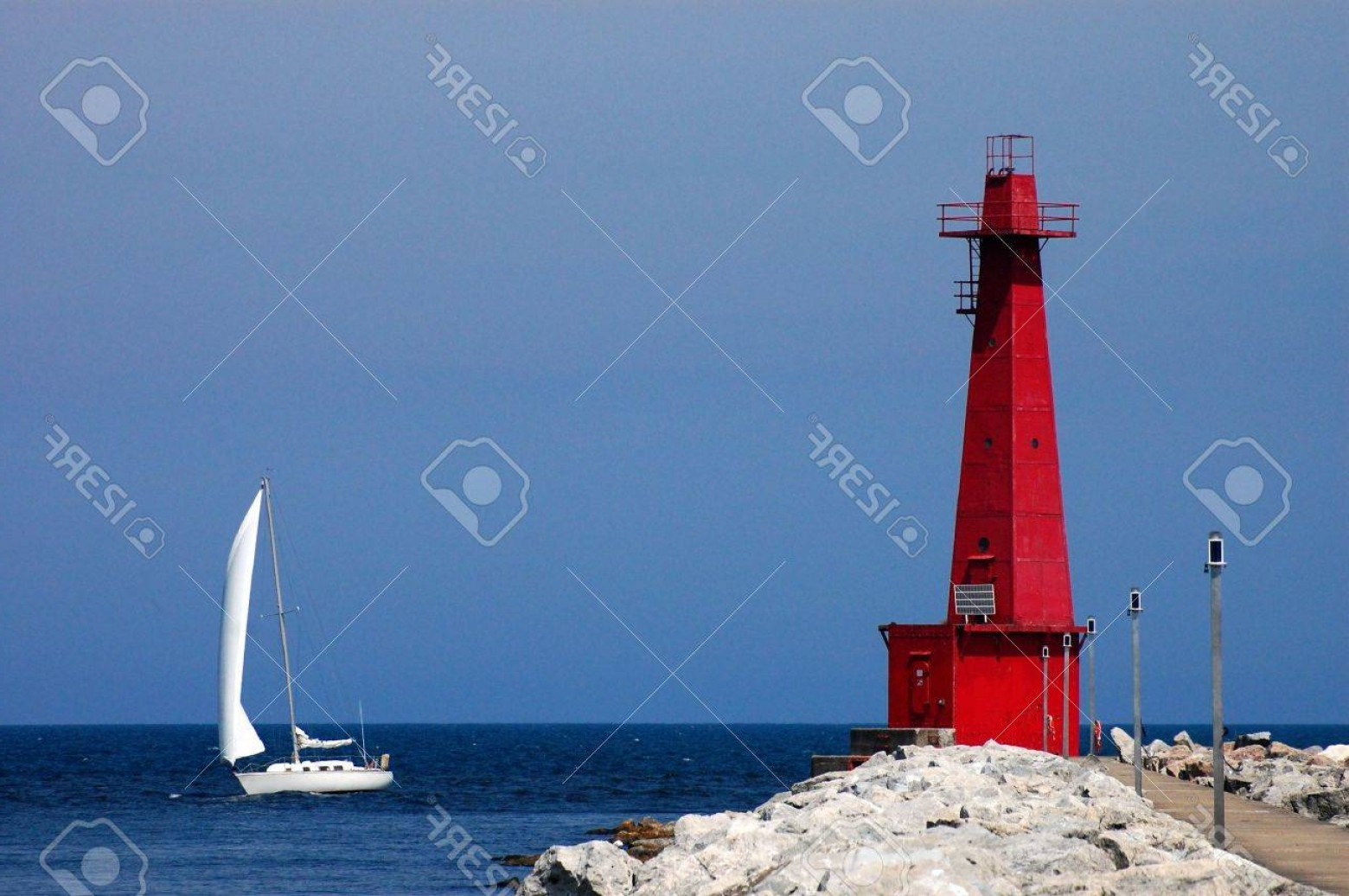 Jupiter Lighthouse Vector: Photomuskegon Lighthouse And Sailboat Lake Michigan Muskegon Mi