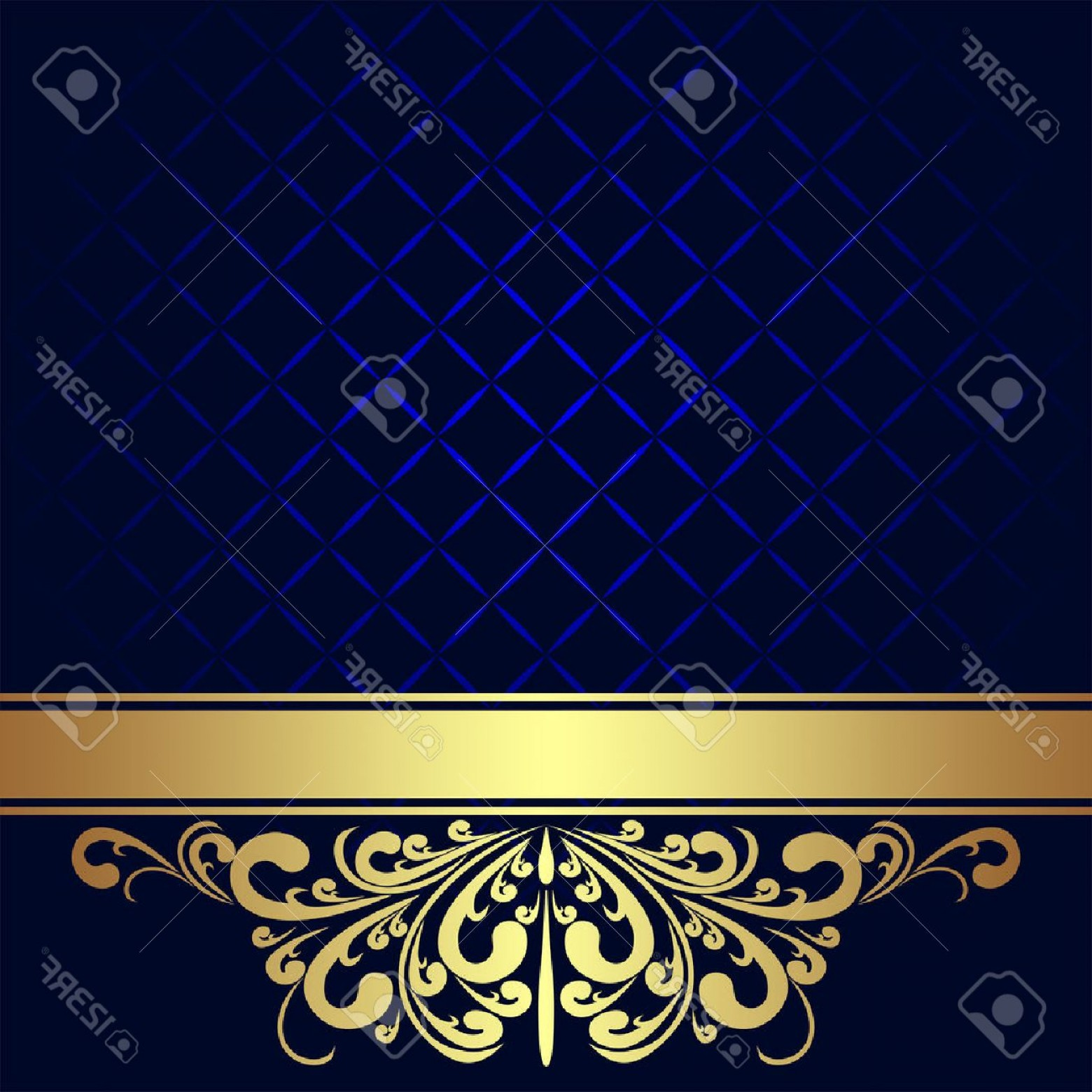 Blue And Gold Border Vector: Photonavy Blue Background Decorated The Golden Royal Border