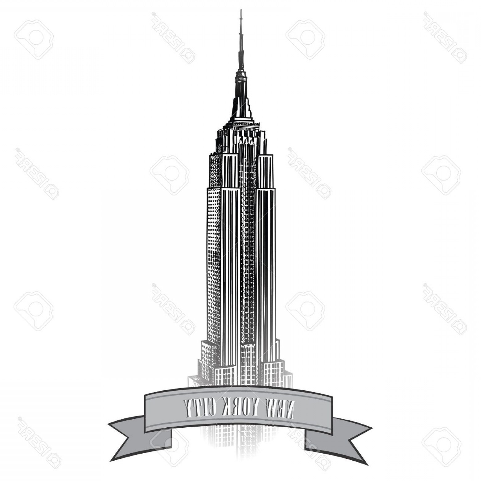 Empire State Vector: Photonew York City Label With Empire State Building Nyc Travel Icon