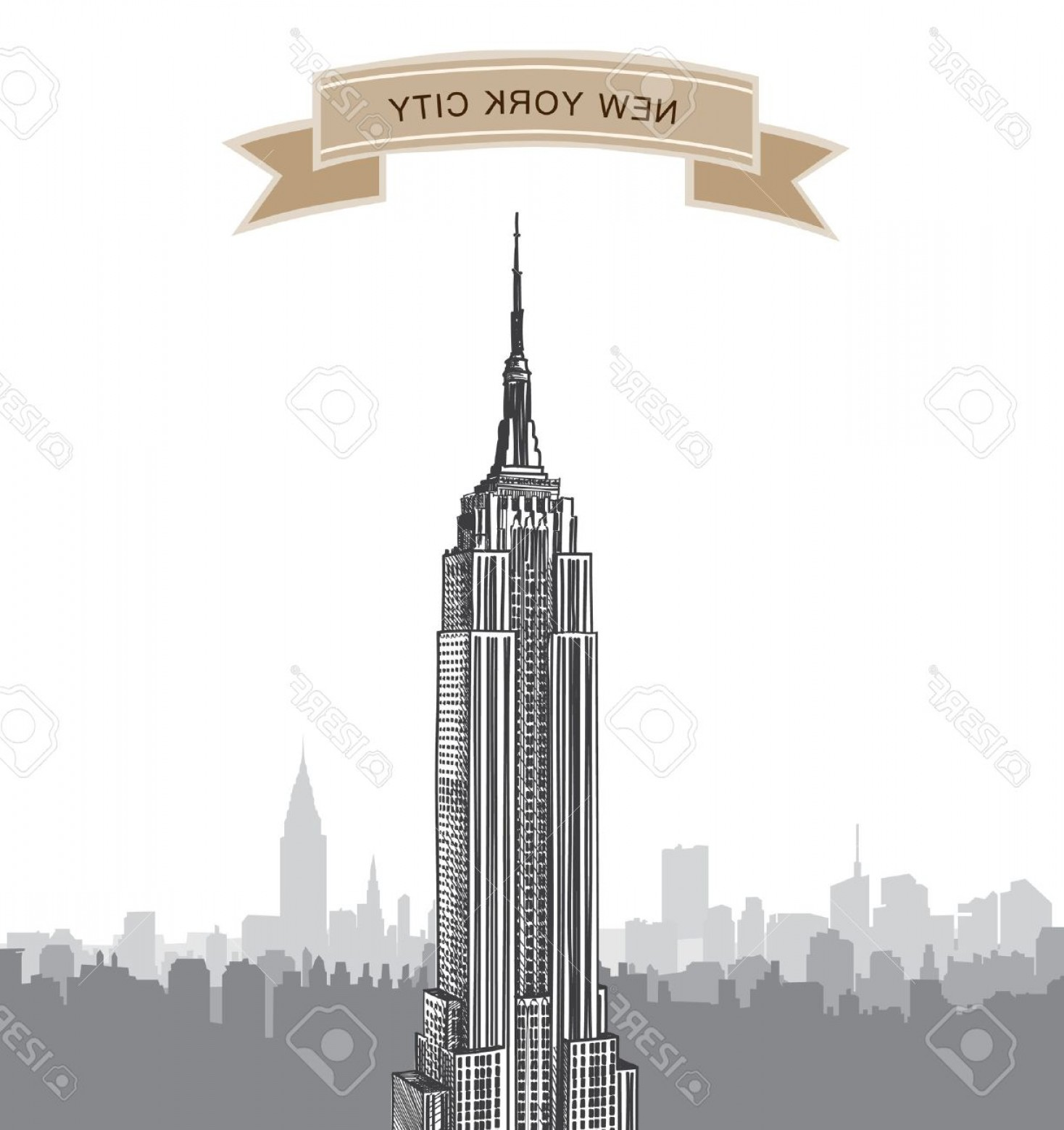 Empire State Vector: Photonew York City Landscape Empire State Building Label Nyc Background