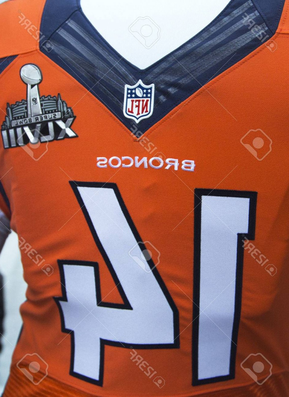 Super Bowl XLVIII Trophy Vector: Photonew York January Denver Broncos Team Uniform With Super Bowl Xlviii Logo Presented During Super B