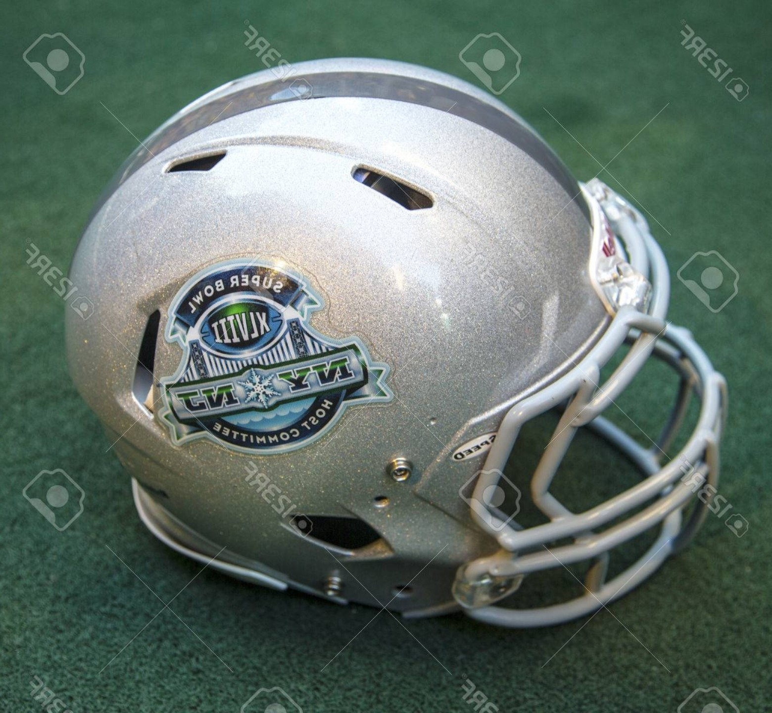 Super Bowl XLVIII Trophy Vector: Photonew York January Football Helmet With On Broadway Super Bowl Xlviii Ny Nj Host Committee Logo Pre