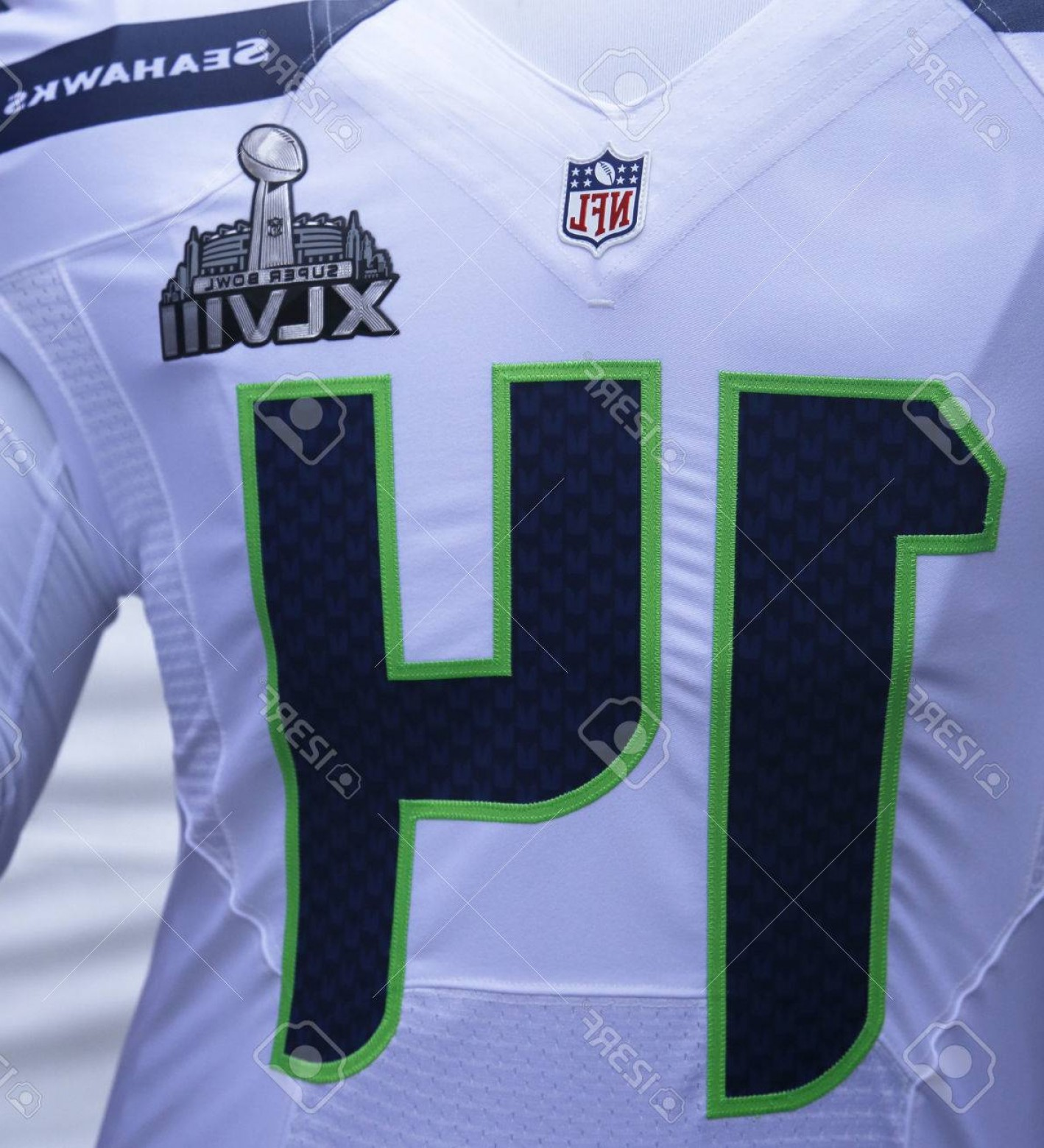 Super Bowl XLVIII Trophy Vector: Photonew York January Seattle Seahawks Team Uniform With Super Bowl Xlviii Logo Presented During Super