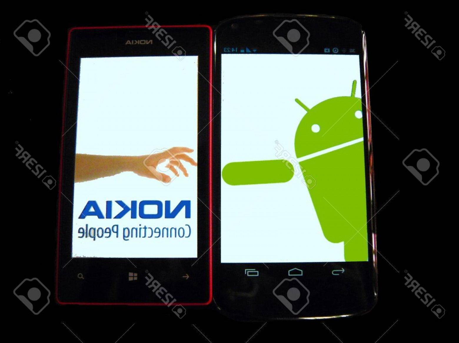 Search Logo Lumia Vector: Photonokia S Hand Logo Parody Nokia Reach Out To Android Isolated Picture Of Google Nexus And Nokia Lum