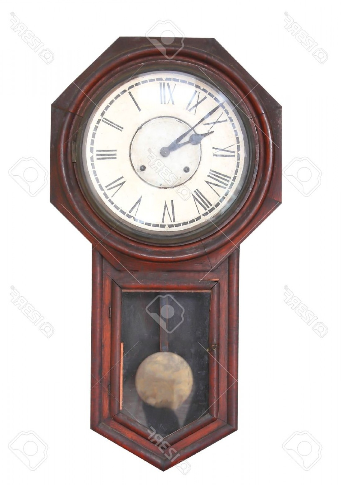 Old Floor Clock Vector: Photoold Clock Isolated On The White