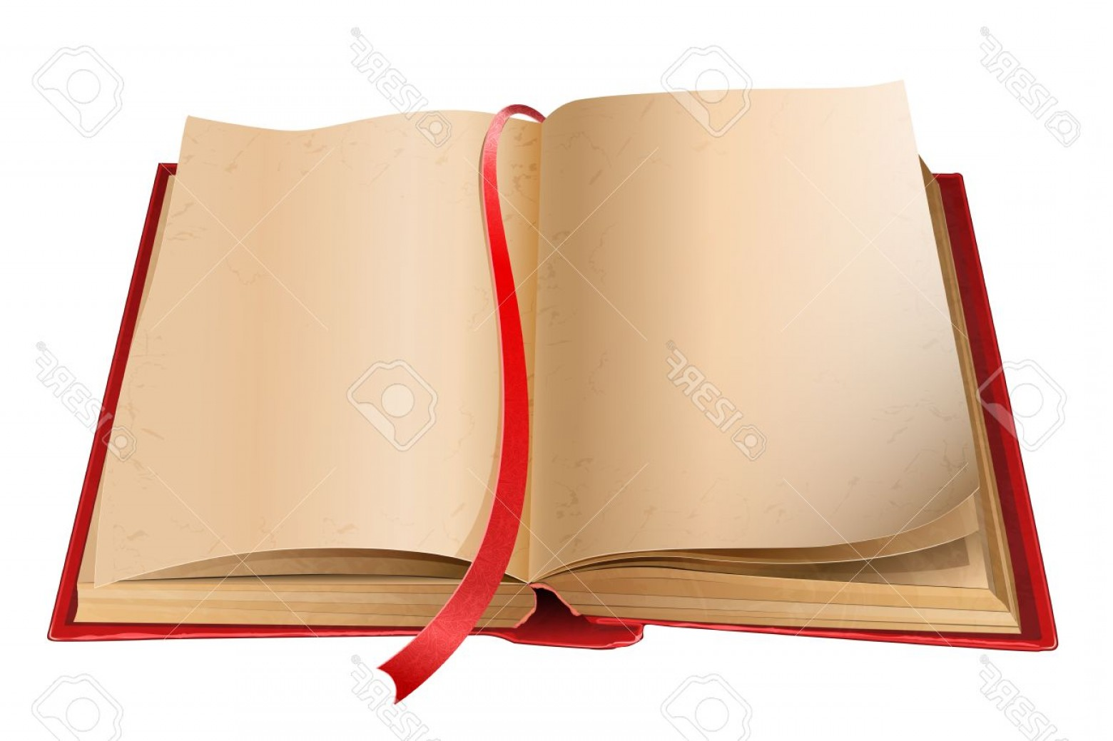 Cartoon Blank Open Book Vector: Photoold Open Book With Blank Pages Isolated On White Background