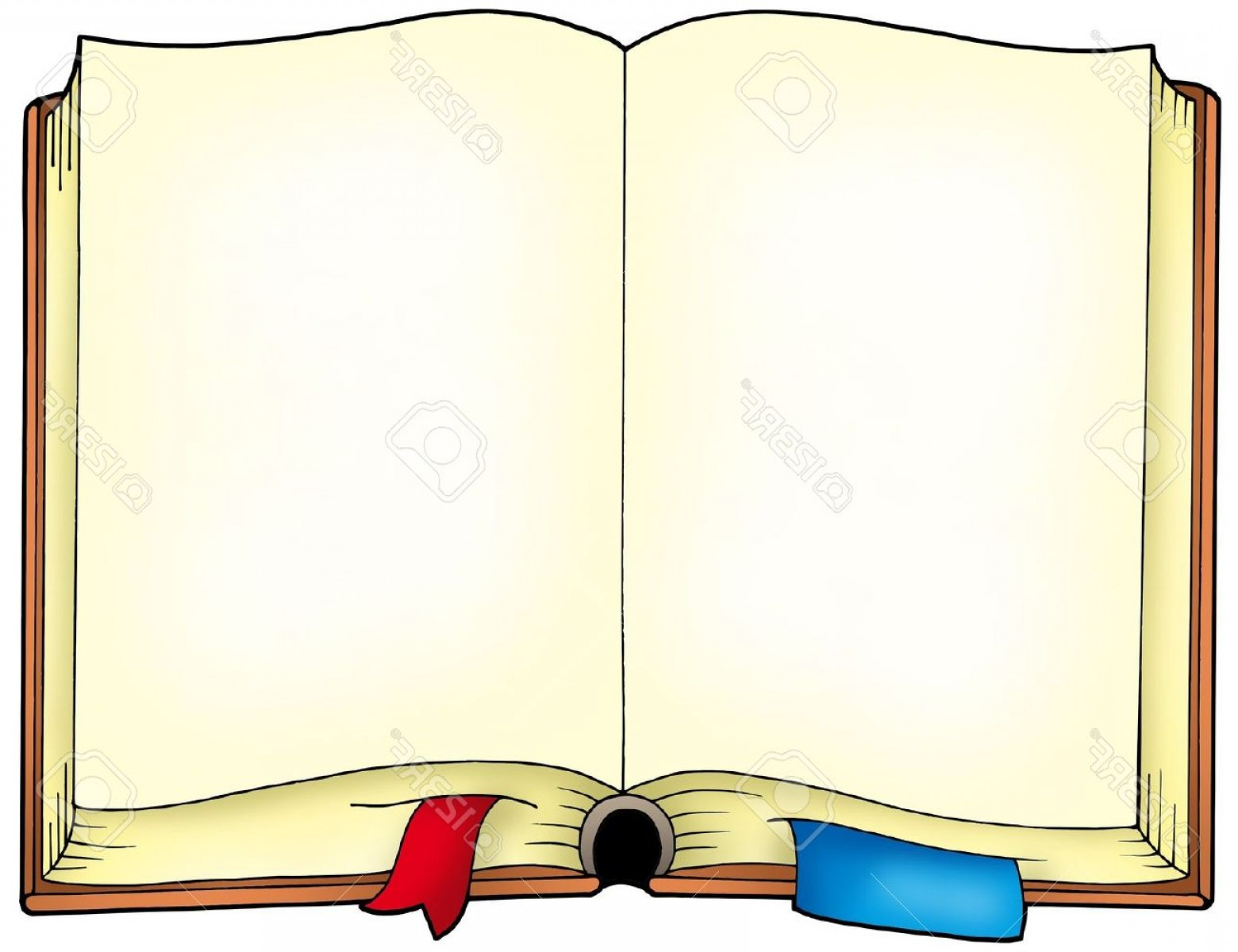 Cartoon Blank Open Book Vector: Photoold Opened Book Color Illustration