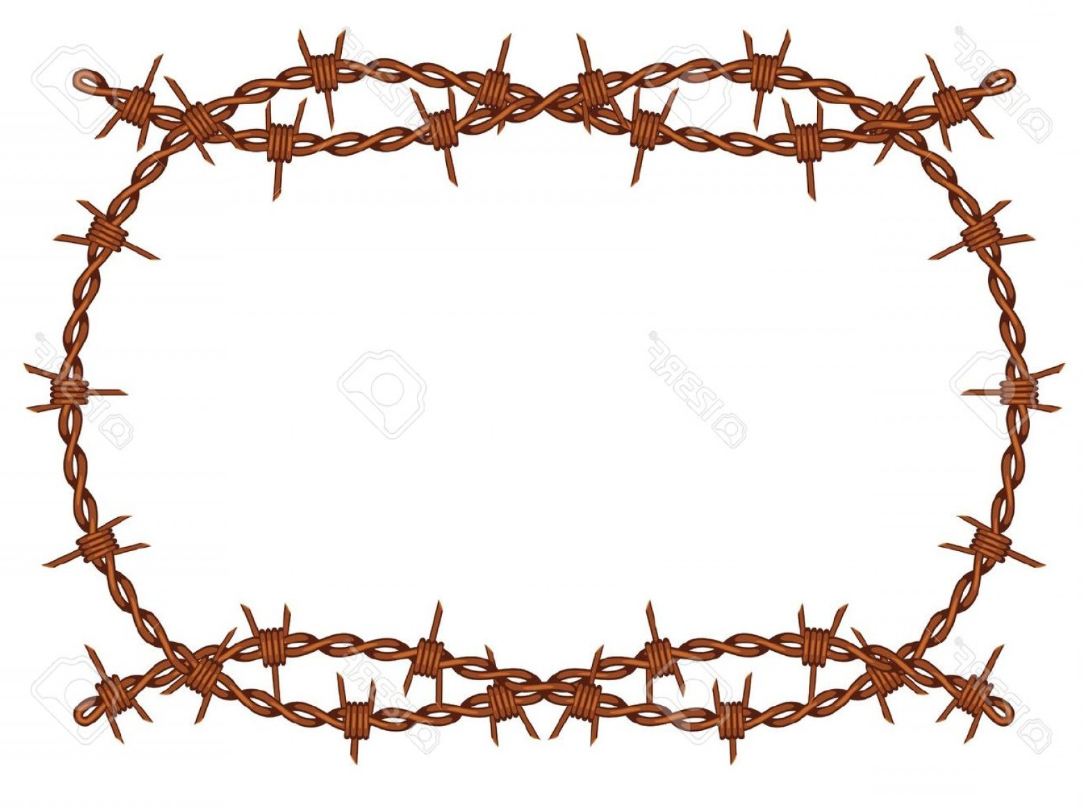 TIF Barbed Wire Vector: Photoold Rusty Barbed Wire Frame Pattern Isolated
