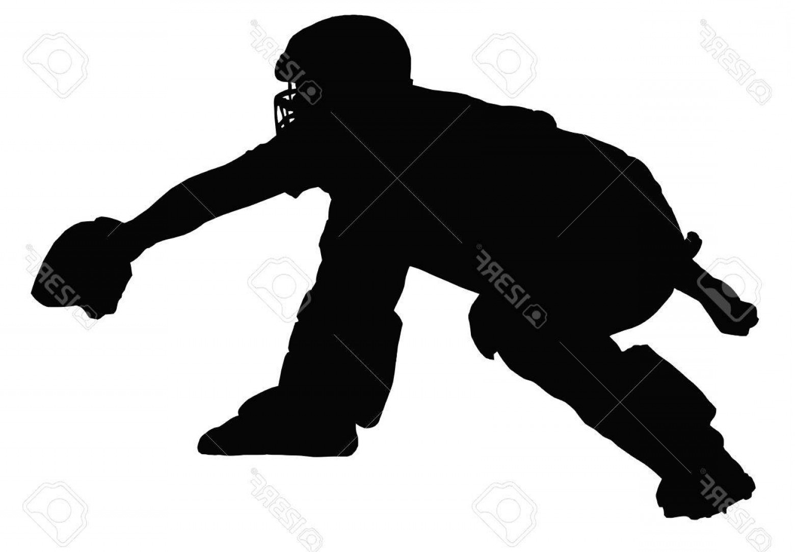 Baseball Catcher Silhouette Vector: Photopadded Baseball Catcher Calling And Awaiting Delivery