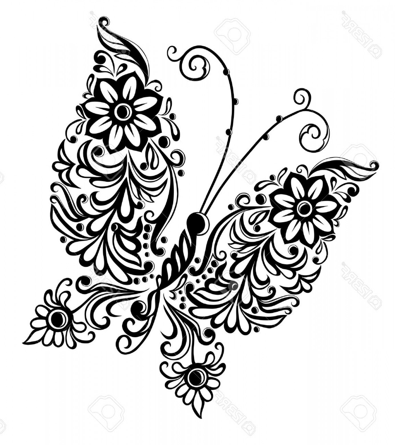 Butter Fly And Flower Vector Black And White: Photopainting Butterfly Swirl Abstract Element Design