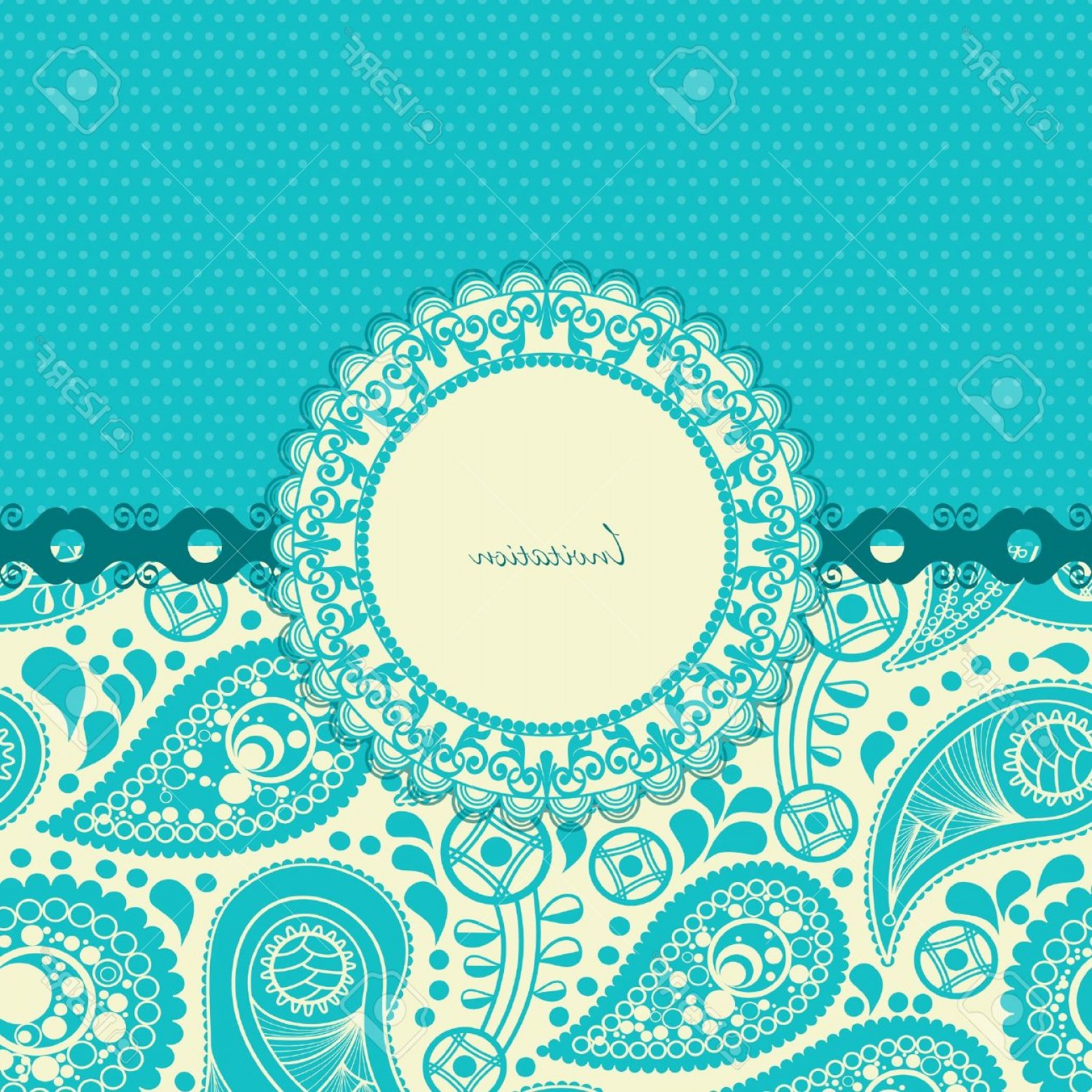 Turquoise Flower Vector: Photopaisley Flower Gift Card In Trendy Turquoise