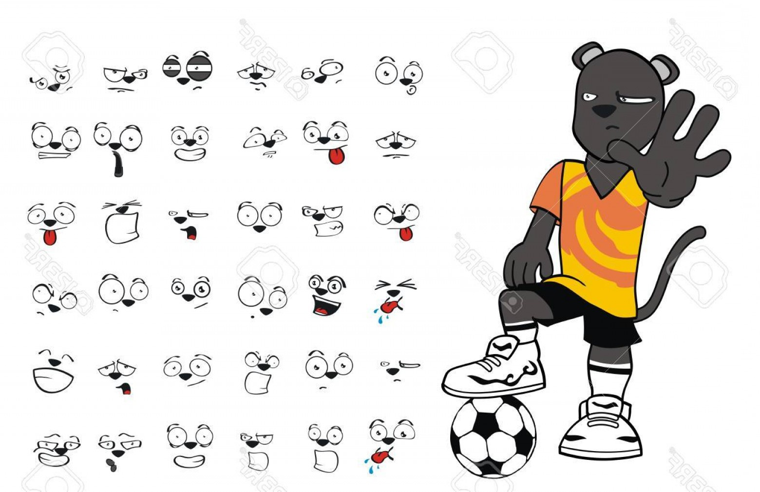 Vector Panther Football: Photopanther Soccer Cartoon Set Vector Very Easy To Edit