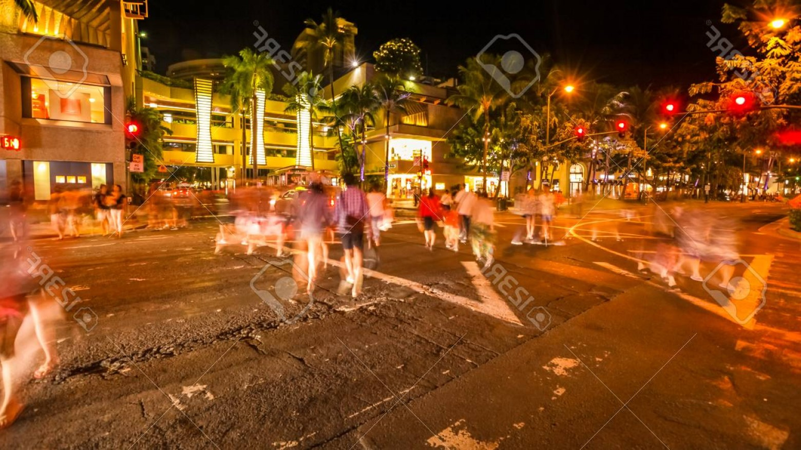 City Of Honolulu At Night Vector: Photopeople Moving To Wikiki Shopping Centre In Motion Blur With Cars Crossing The Streets City Night Lig