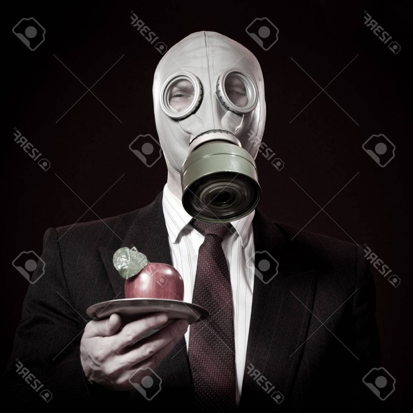 Gas Mask Suit And Tie Vector: Photoperson In A Gas Mask With An Apple In A Hand