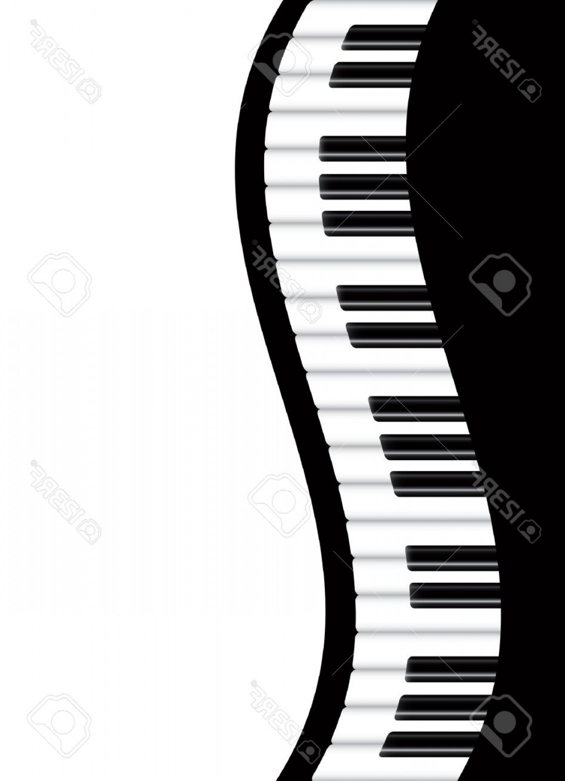 Musical Keyboard Vector: Photopiano Keyboards Wavy Border Background Illustration