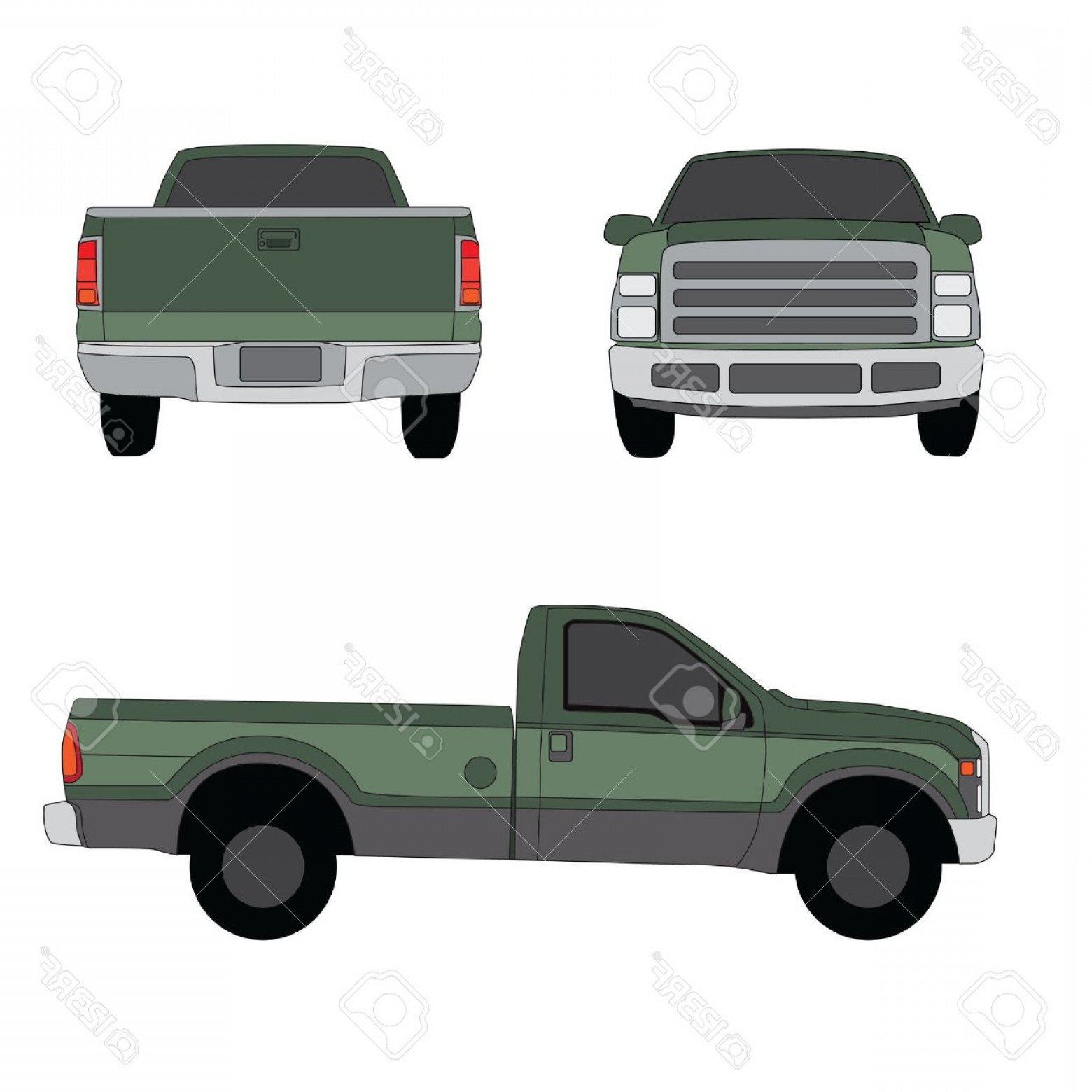 Vector Pick Up: Photopick Up Truck Green Three Sides View Vector Illustration