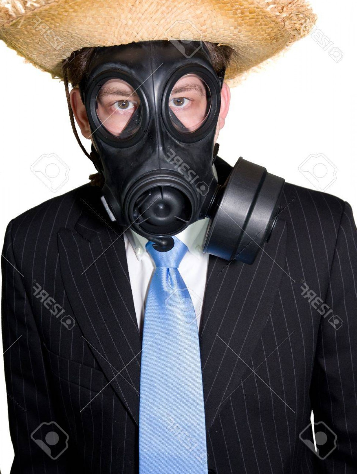Gas Mask Suit And Tie Vector: Photopicture Of A Man In Suit With A Gasmask And A Hat