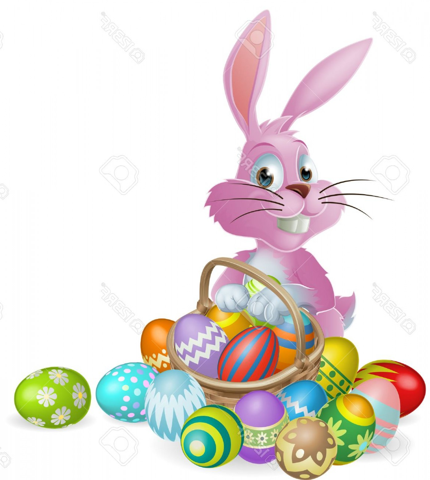 Vector Easter Egg Basket: Photopink Easter Bunny Rabbit With Easter Eggs Basket Full Of Chocolate Decorated Easter Eggs