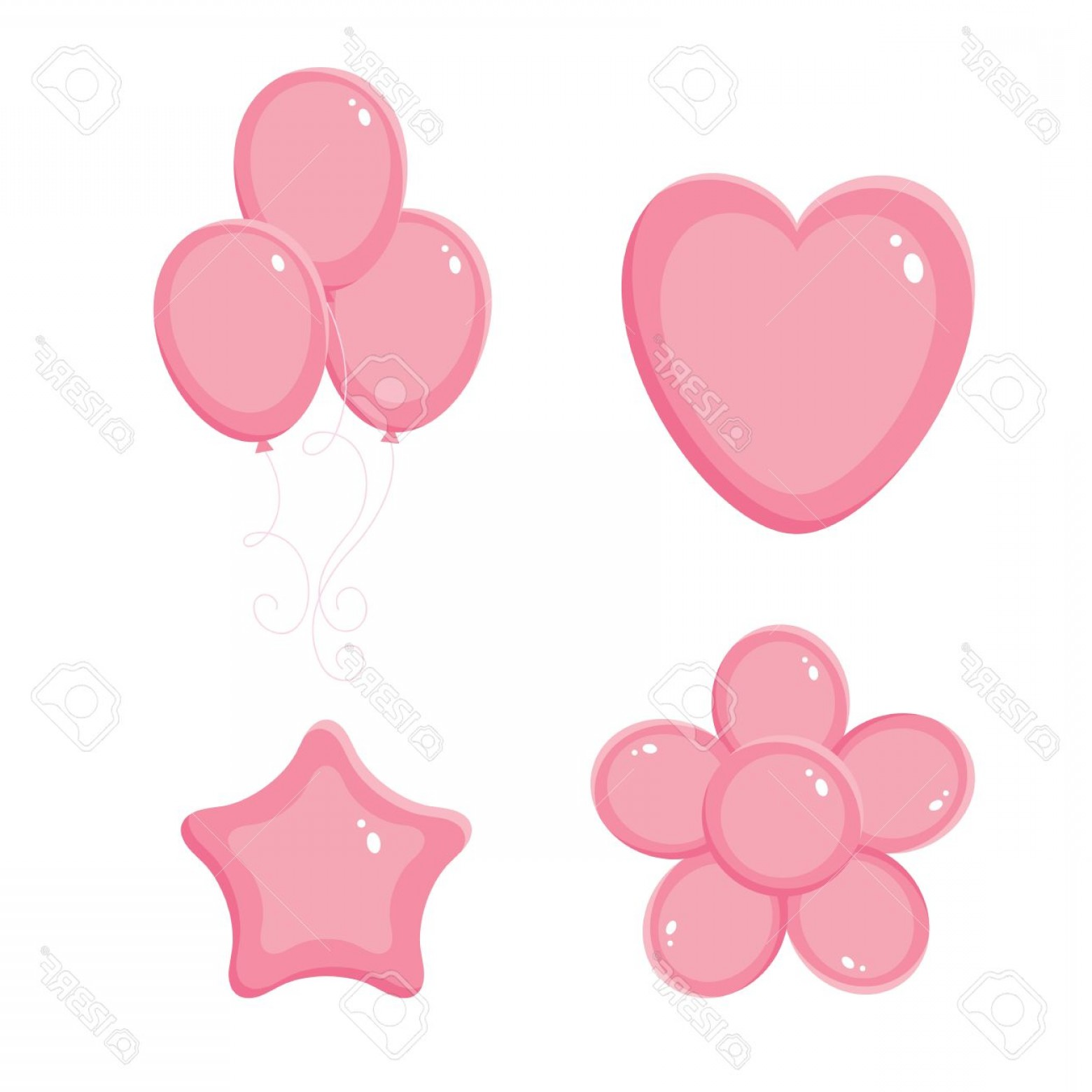 Vectors Heart And Star: Photopink Shiny Balloons Heart Flower And Star