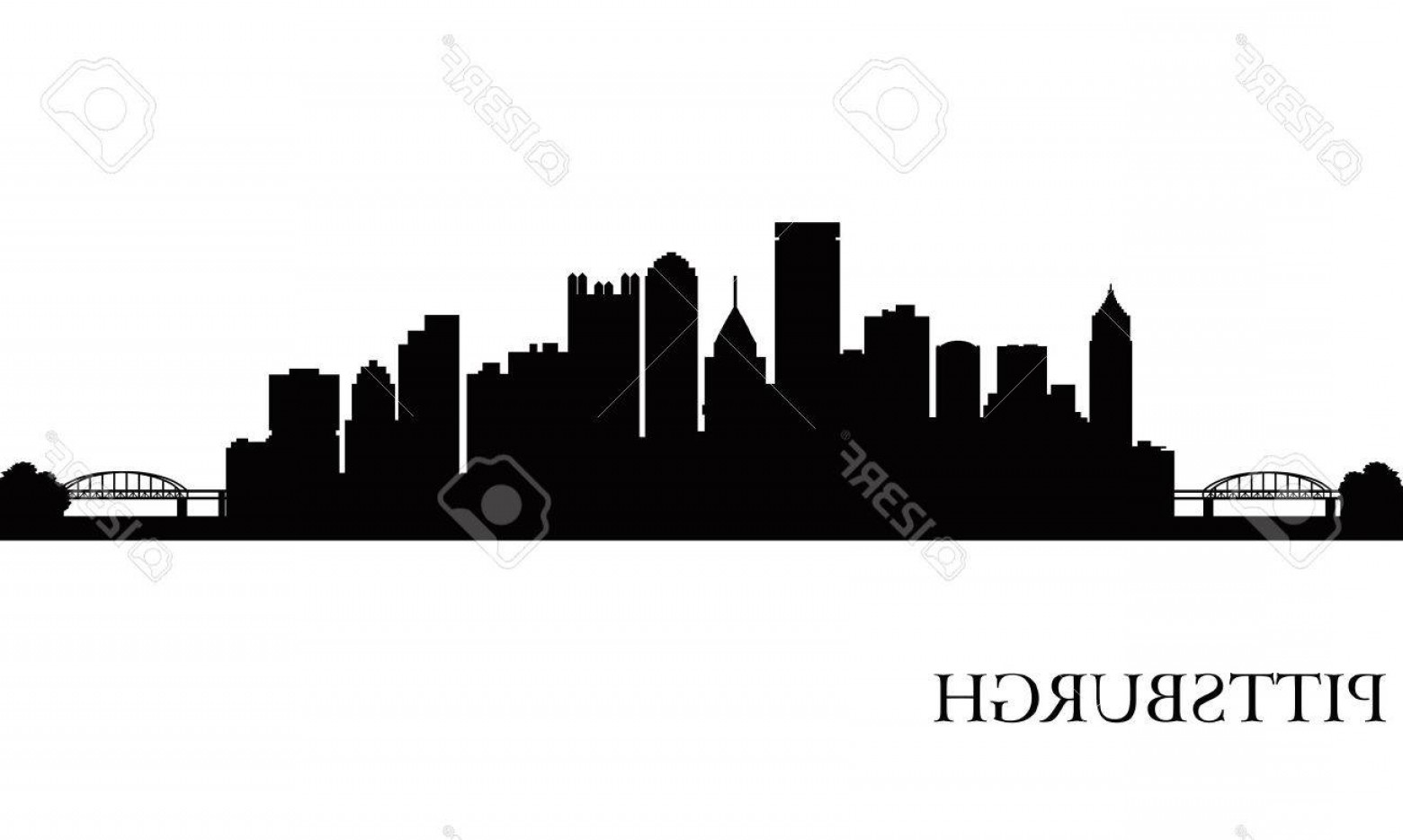 Pittsburgh City Skyline Vector: Photopittsburgh City Skyline Silhouette Background Vector Illustration