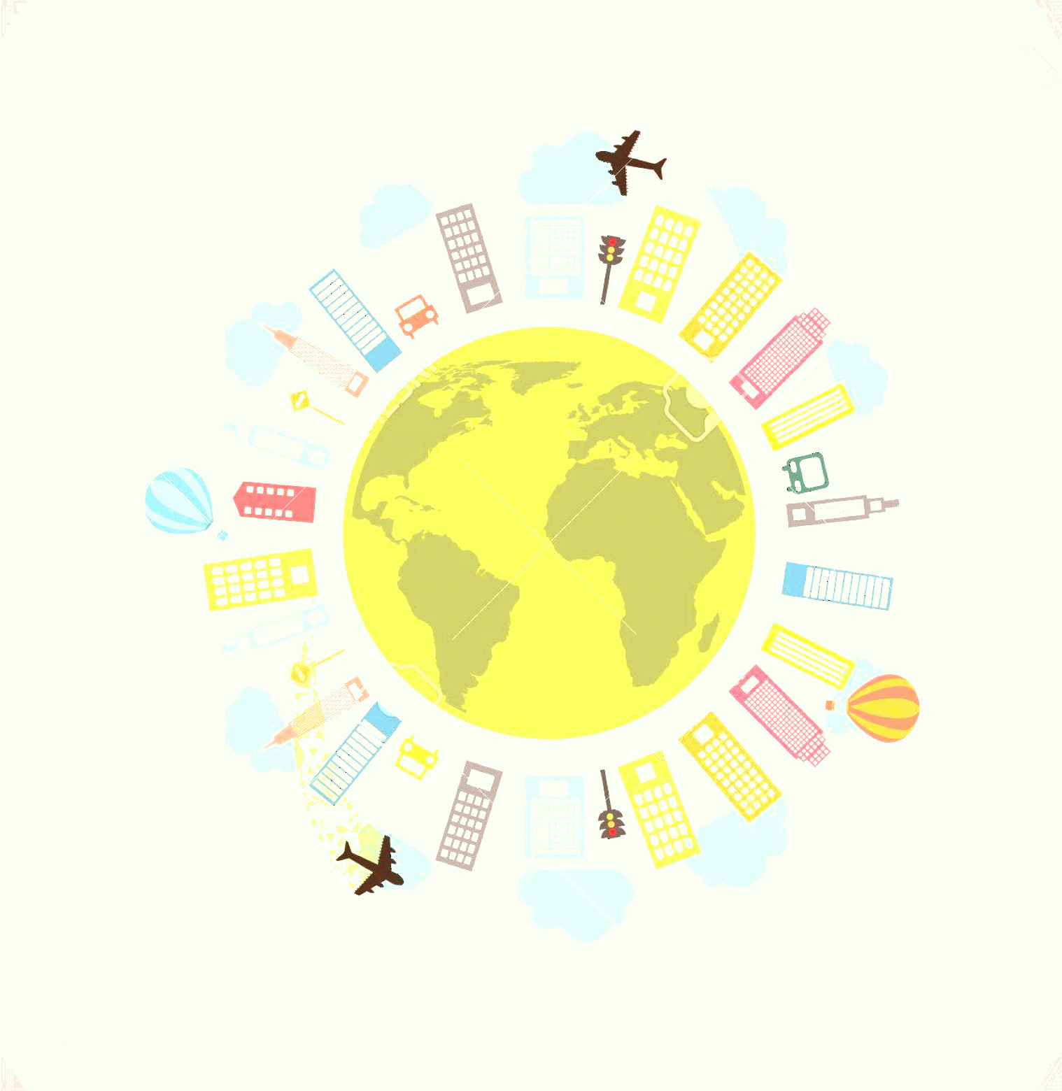 Earth With Buildings Vector: Photoplanet Earth With Buildings And Airplane Vector Illustration