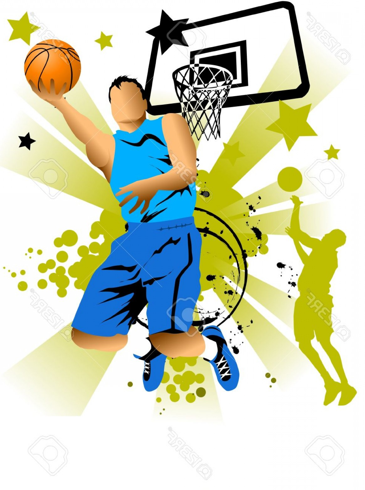 Motion Basketball Vector: Photoplayer In Basketball At The Background Of Basketball Rings Vector