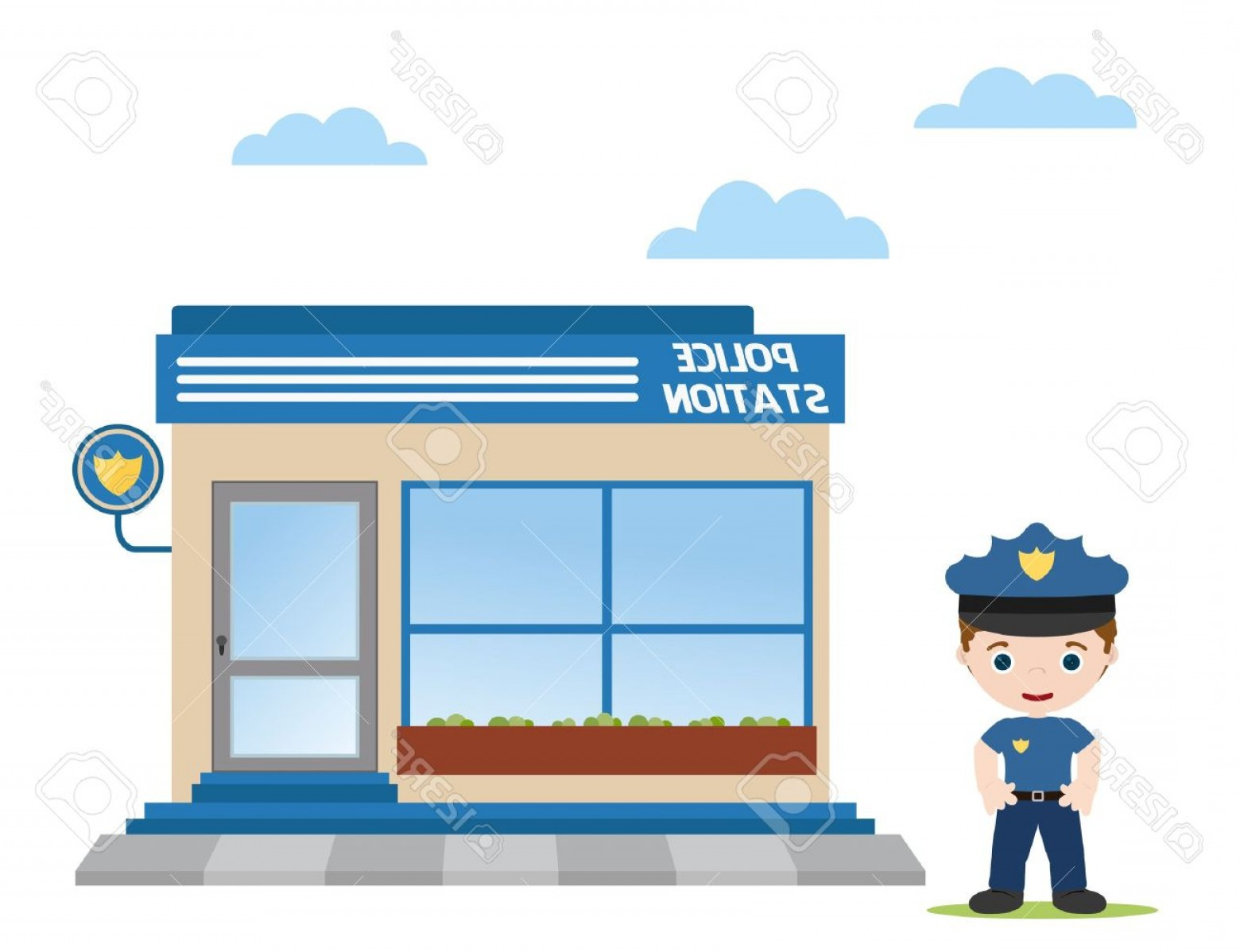 Vector Police Department: Photopolice Station With Police Officer In Front