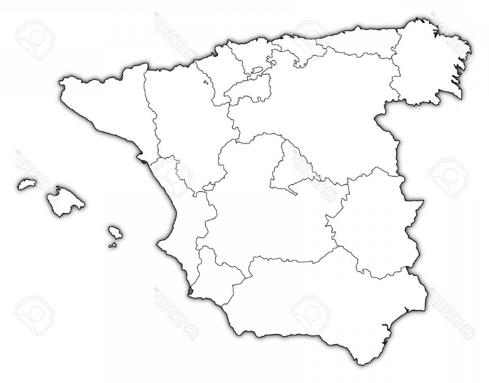 Spain Outline Vector: Photopolitical Map Of Spain With The Several Regions