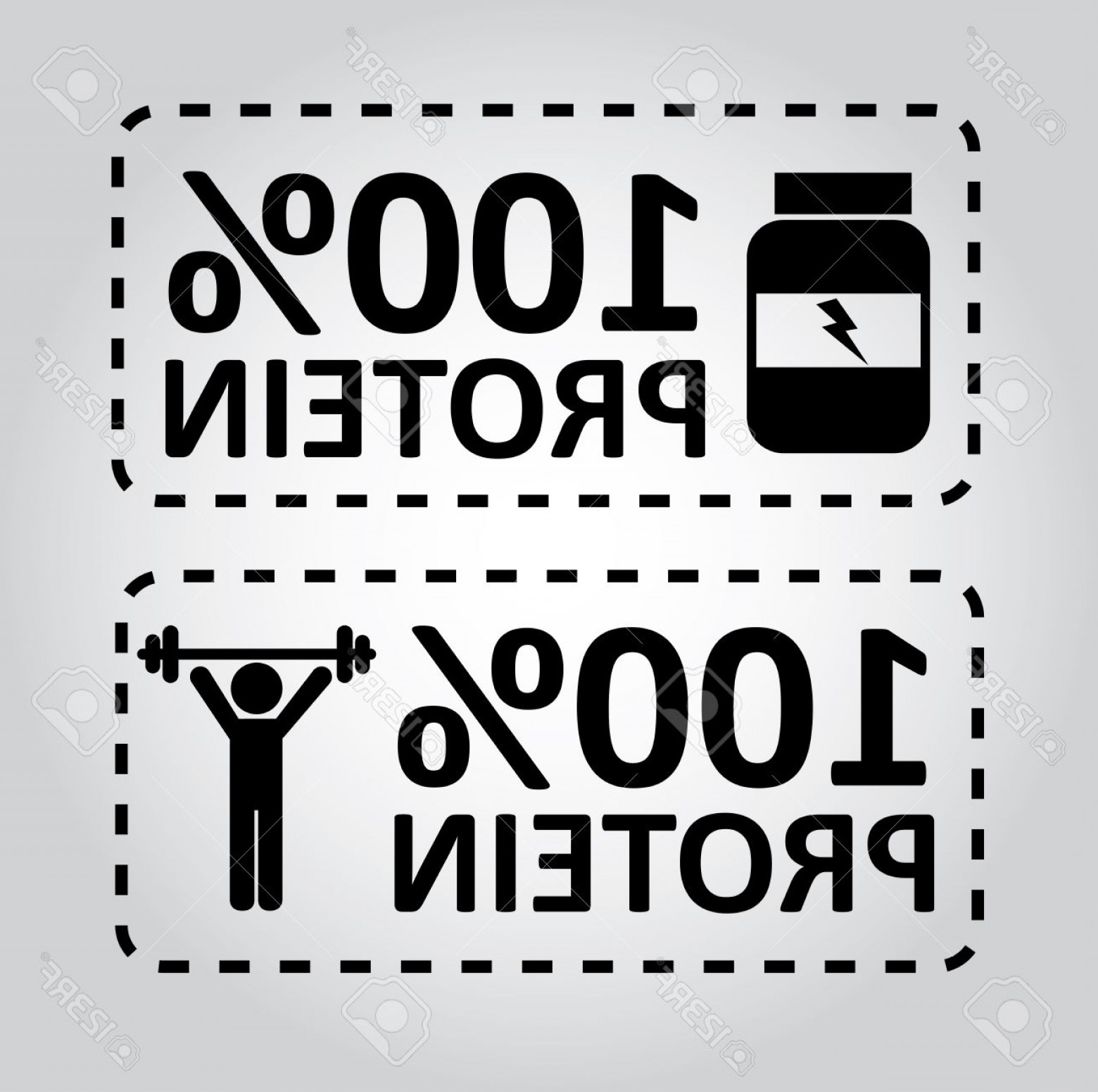 Vector Protein: Photoprotein Labels Over Gray Background Vector Illustration