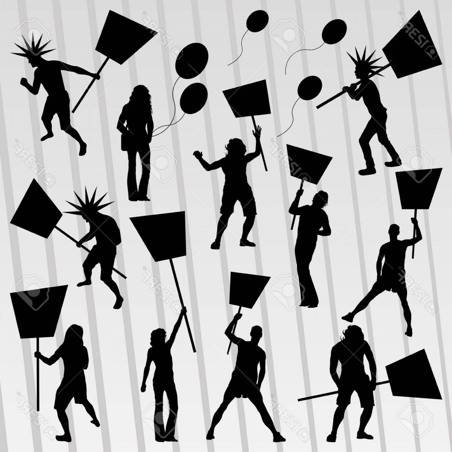 Color Guard Silhouette Vector: Photoprotesters Crowd Silhouettes Collection Background Illustration Vector
