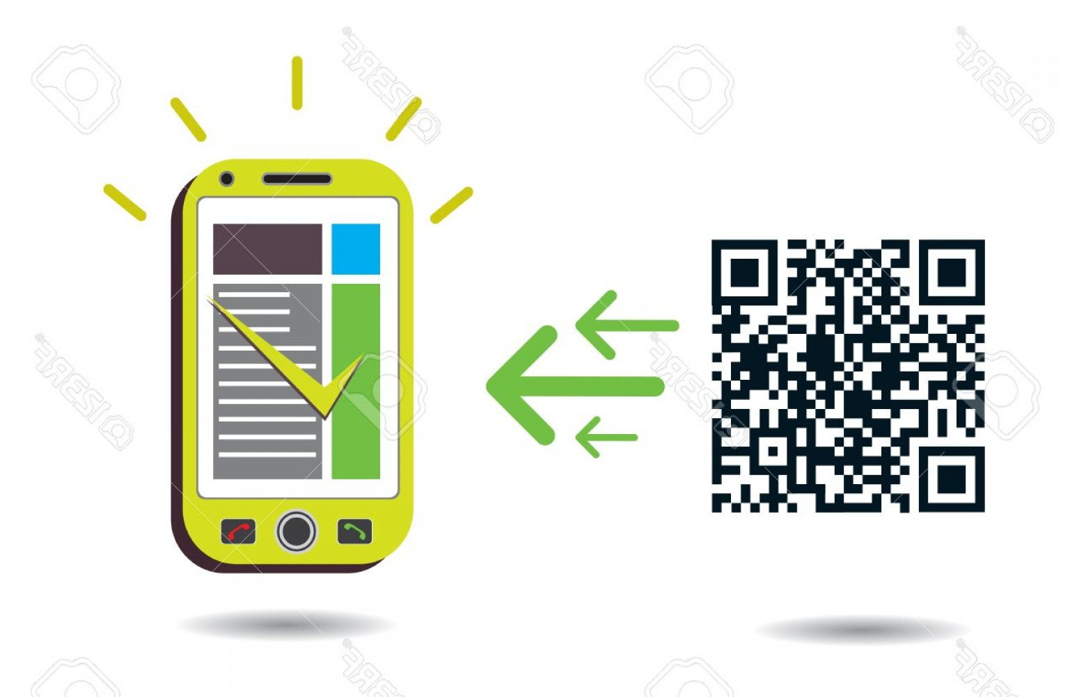 QR Mobile Phone Vector: Photoqr Code Processing Graphic Showing Cellphone Processing Qr Codes Cmyk Global Process Colors Used Org