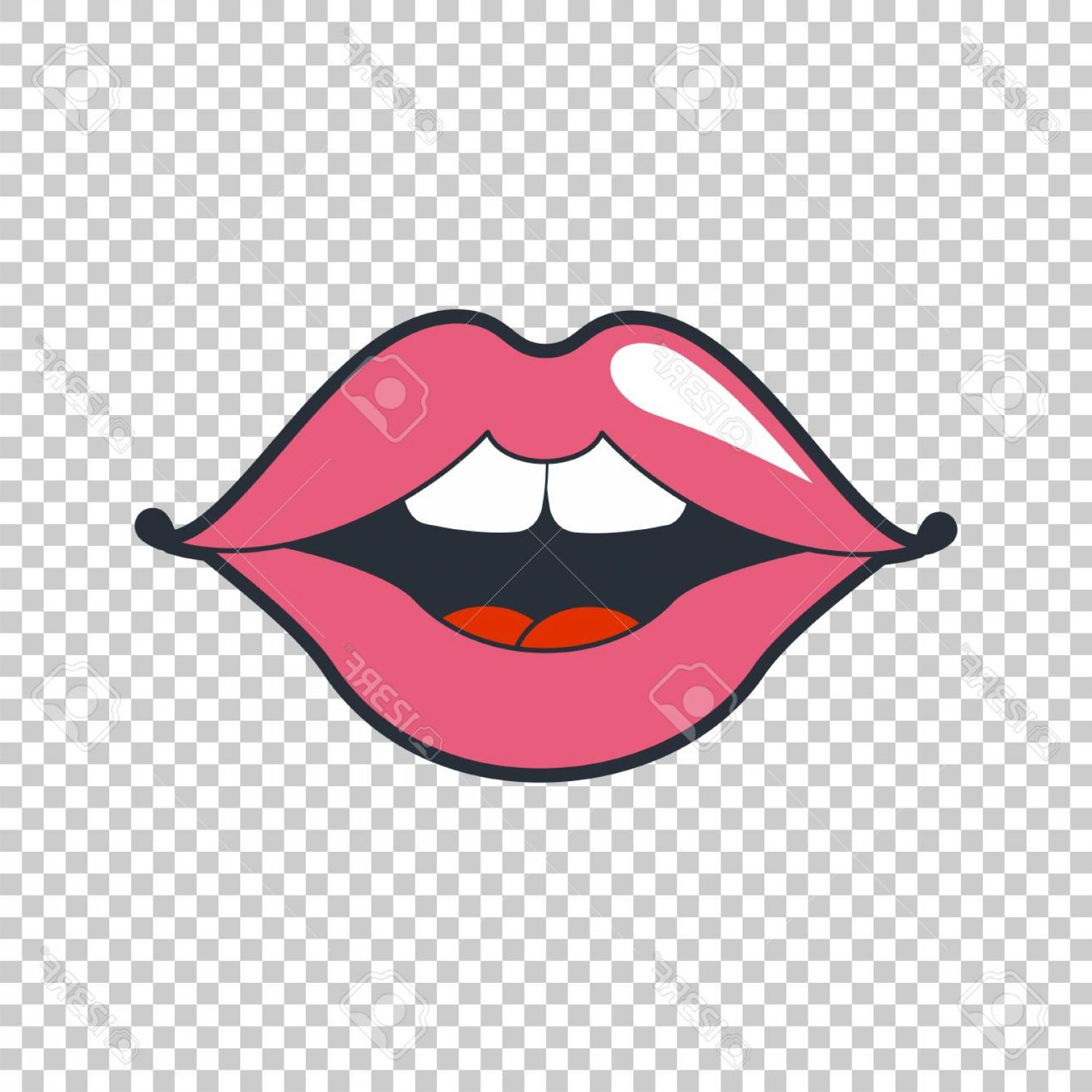 Pink Lips Vector Clip Art: Photoquirky Lips Vector Patch Sticker Isolated On A Transparent Background Cool Sexy Pink Lips Selphie Ca