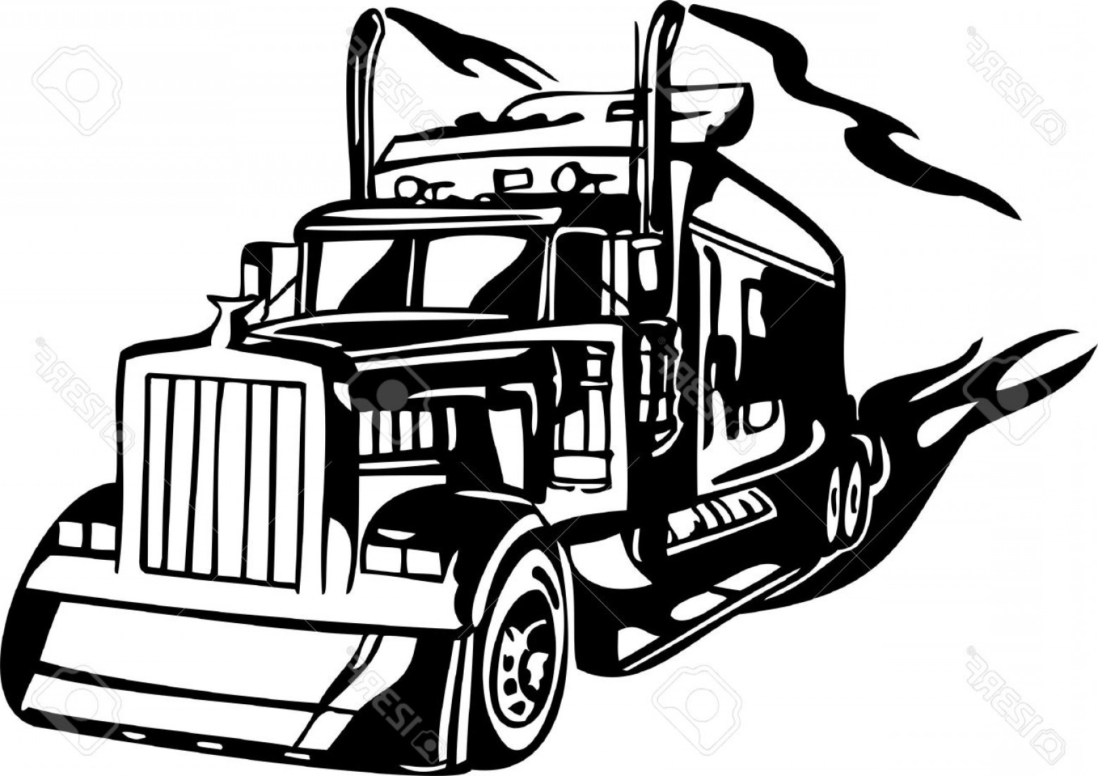 Vector Semi Tanker: Photoracing Trucks With Inclusion Of A Flames And Tribal Illustration Ready For Vinyl Cutting