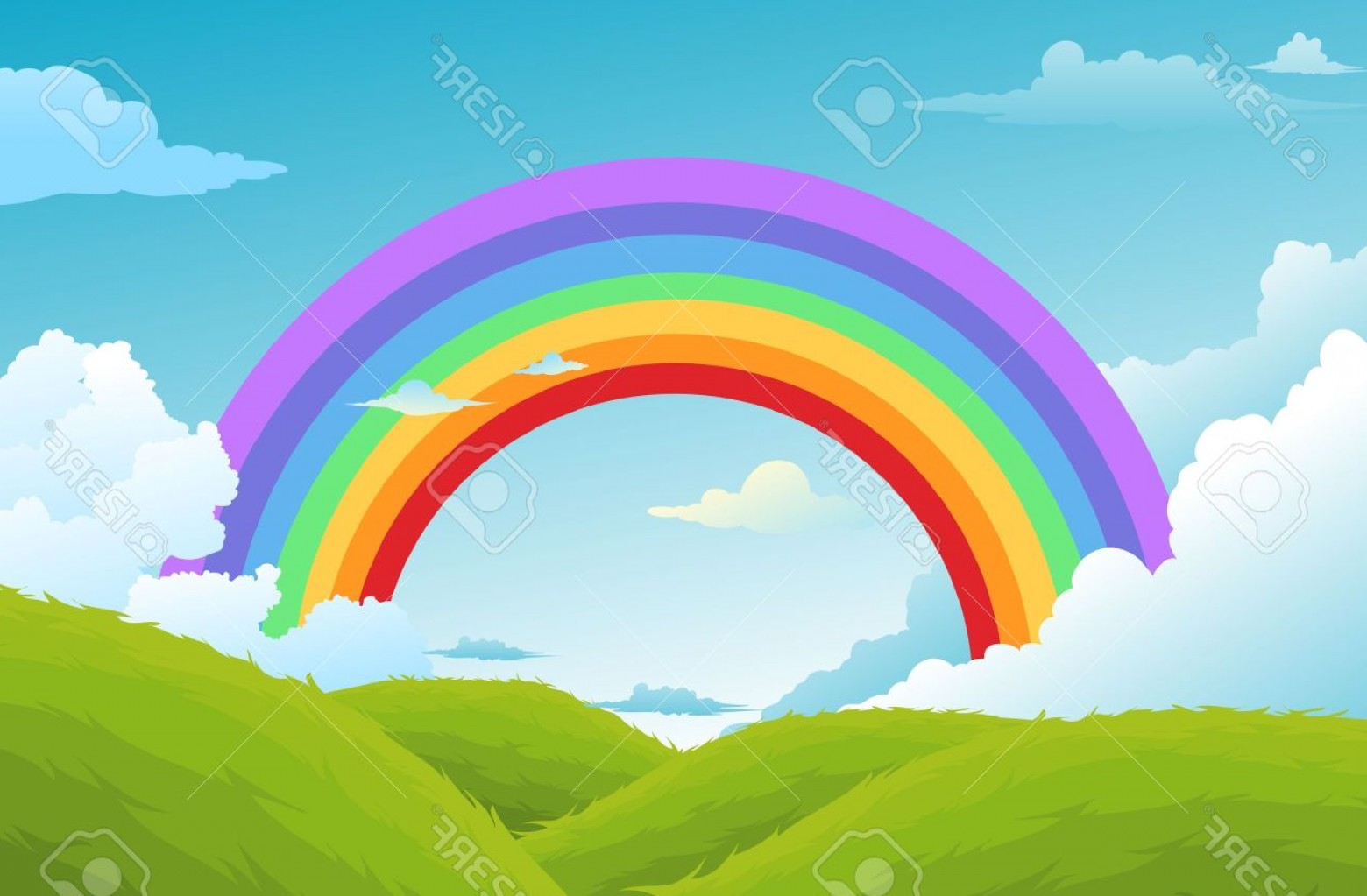 Clouds Backgrounds Vector: Photorainbow And Clouds In The Sky Background
