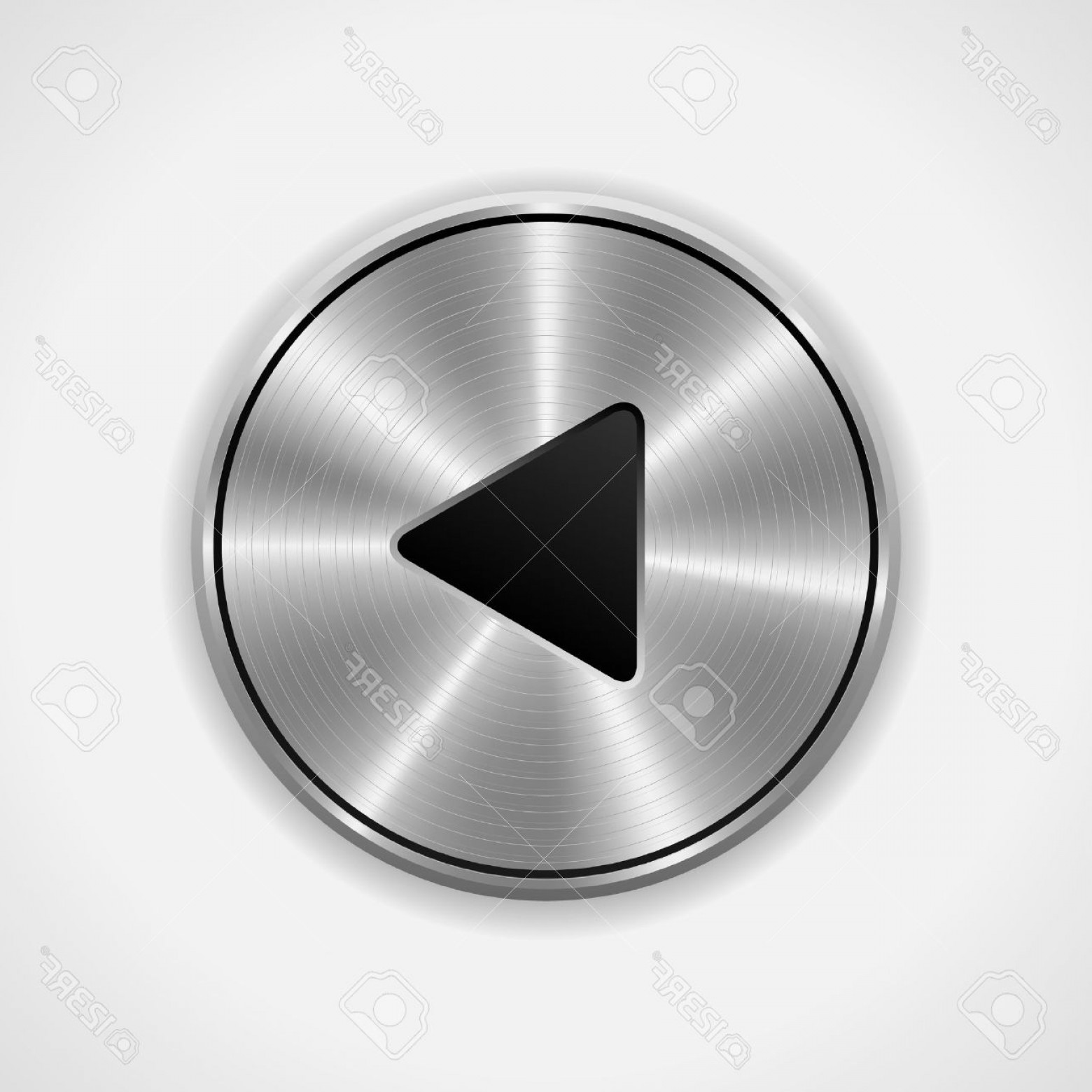 Metal Button Vector: Photorealistic Play Metal Button Vector Eps Isolated