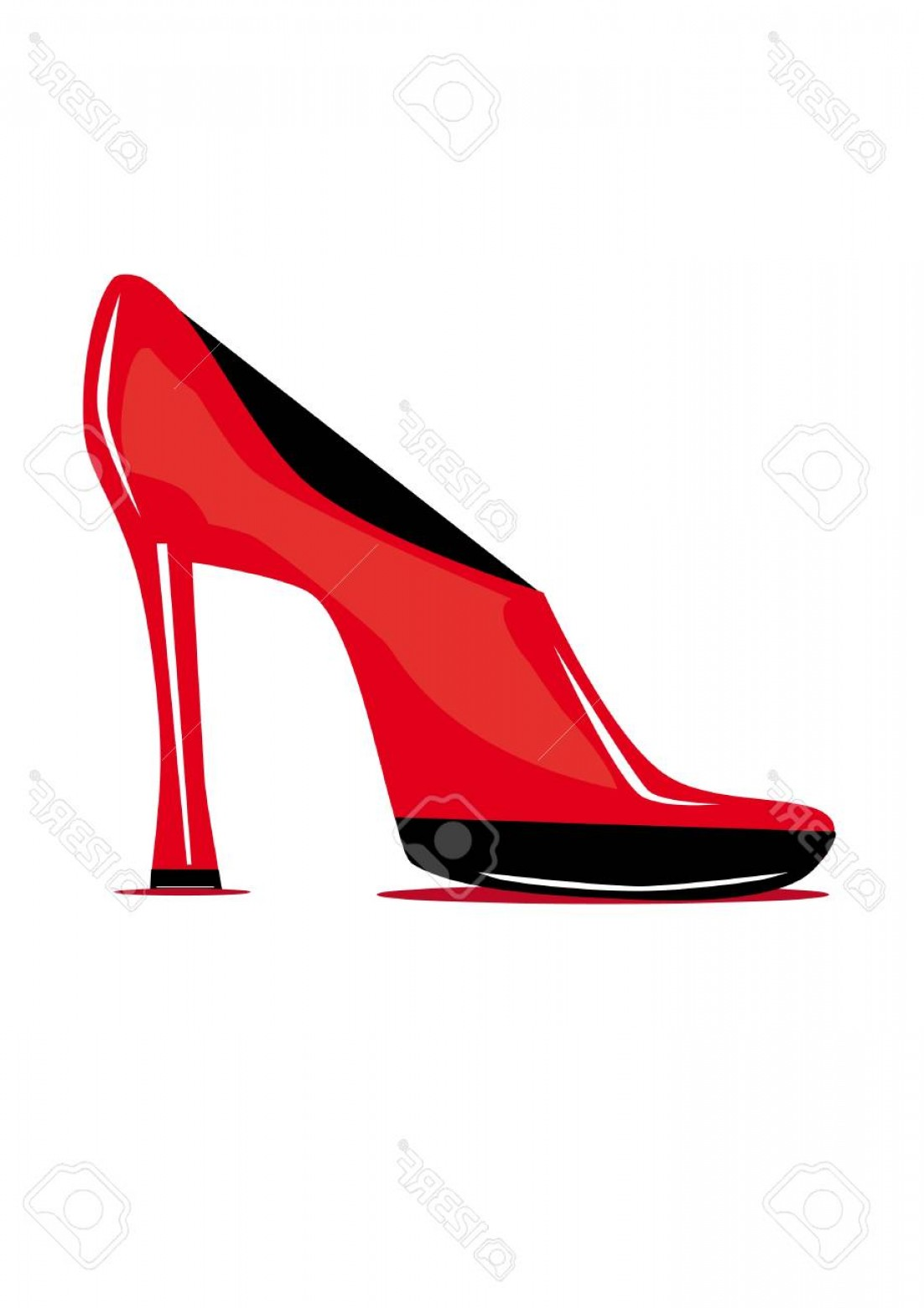 Ruby Red Slippers Vector Art: Photored Shoe On The Isolated Background Illustration